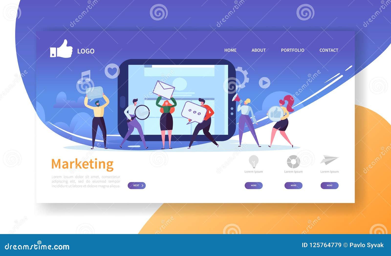 Plantilla social de la página del aterrizaje del márketing Disposición del sitio web con los caracteres planos de la gente que ha