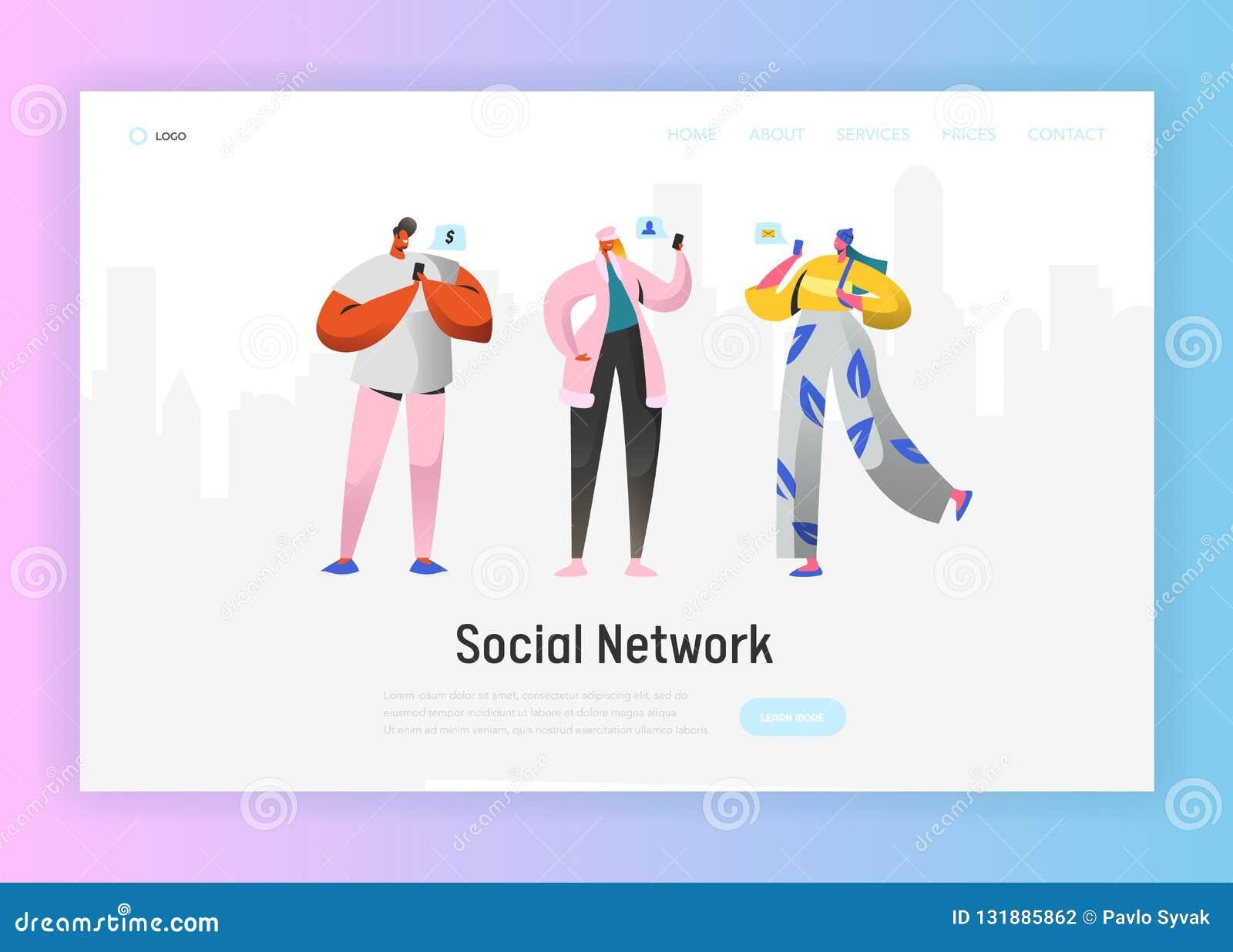 Plantilla social de la página del aterrizaje de la red Caracteres de la gente joven que charlan usando Smartphone para la página