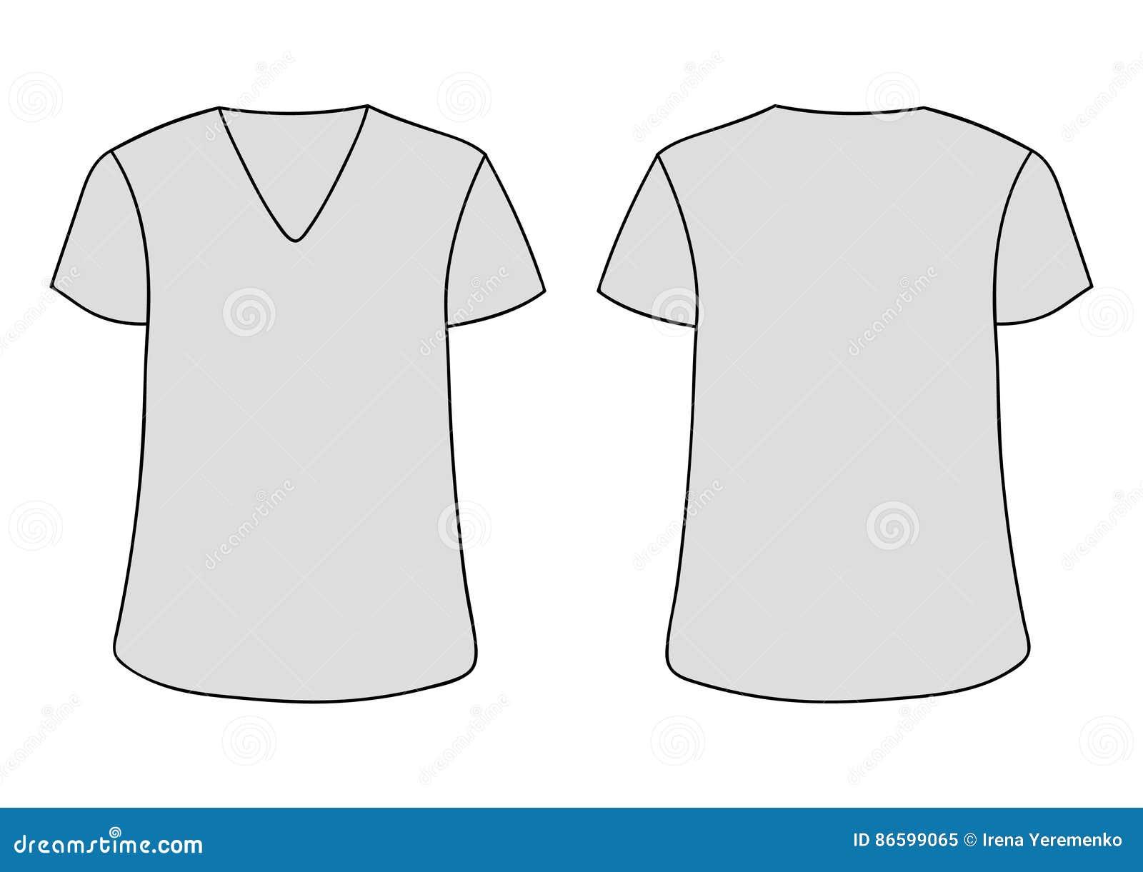 Plantilla Unisex Gris De La Camiseta Del Cuello En V Del Vector Los ... eac21e64128a0