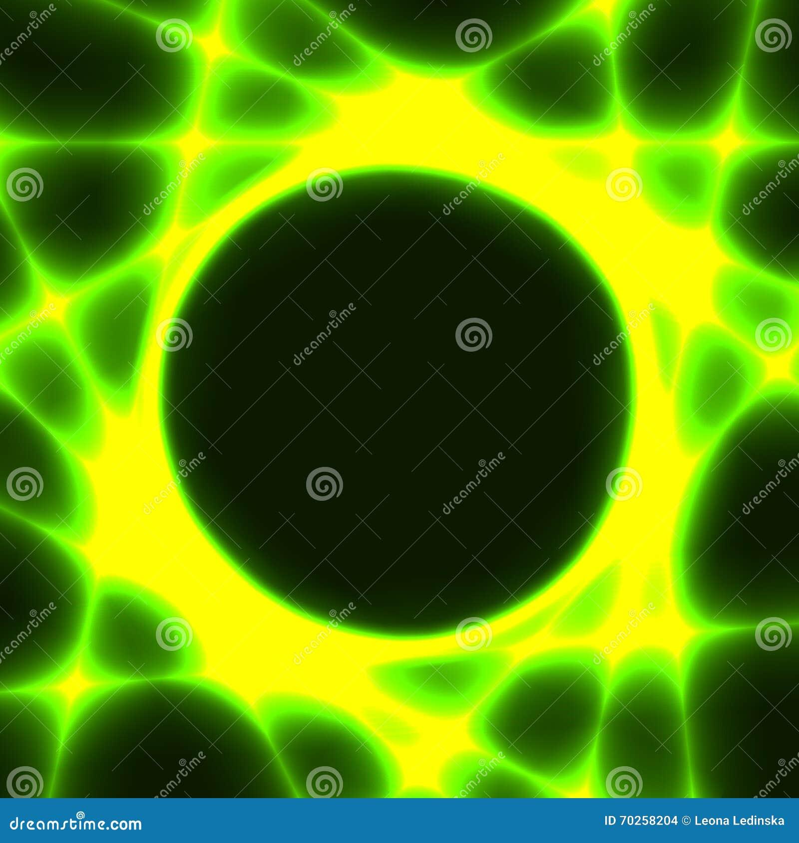 Plantilla Verde Con El Círculo Oscuro Y Los Rayos Laser Ilustración ...