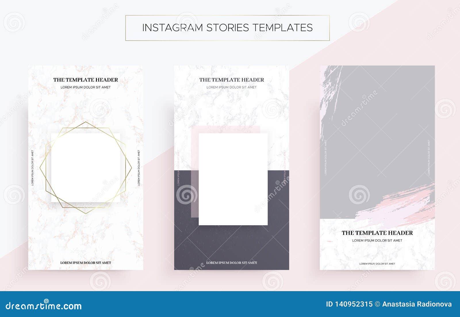 Plantillas de la bandera de las historias de Instagram con mármol