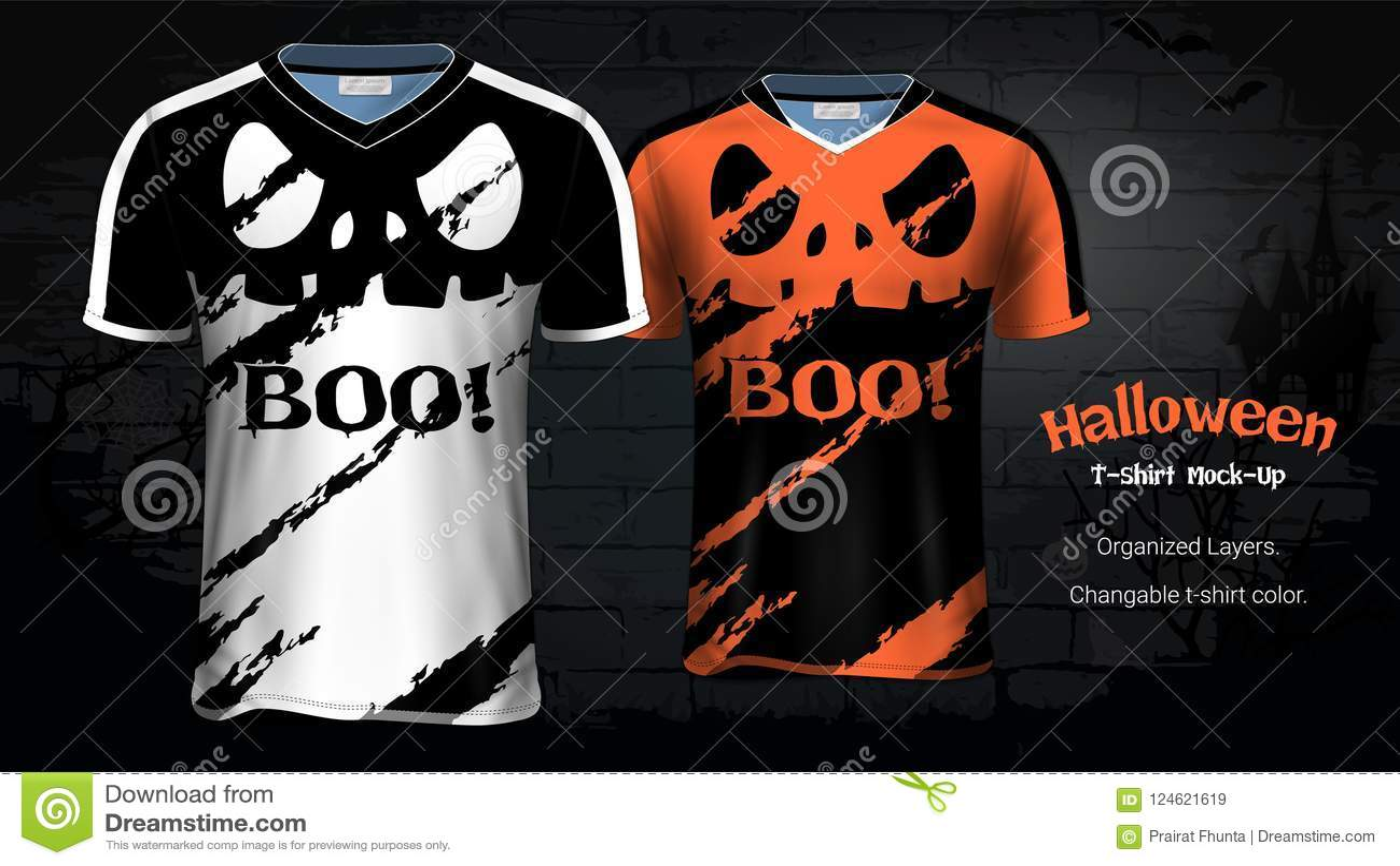 Plantillas De La Maqueta De Las Camisetas Del Traje De Halloween ... 8e5139e327ff1