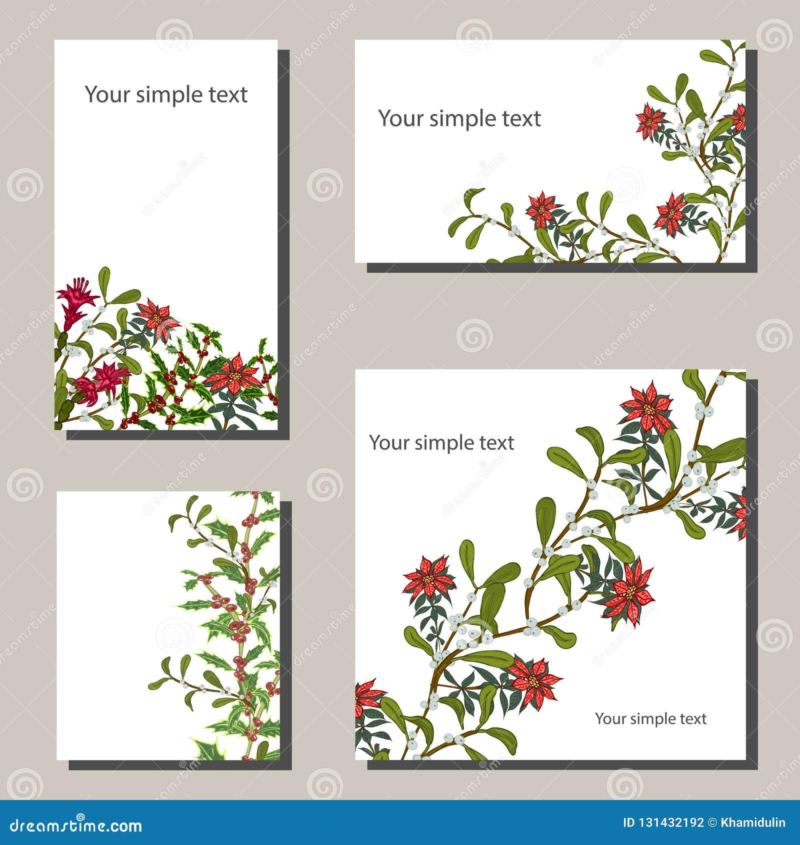 Plantillas de la Navidad con las flores para su diseño, tarjetas de felicitación, avisos festivos