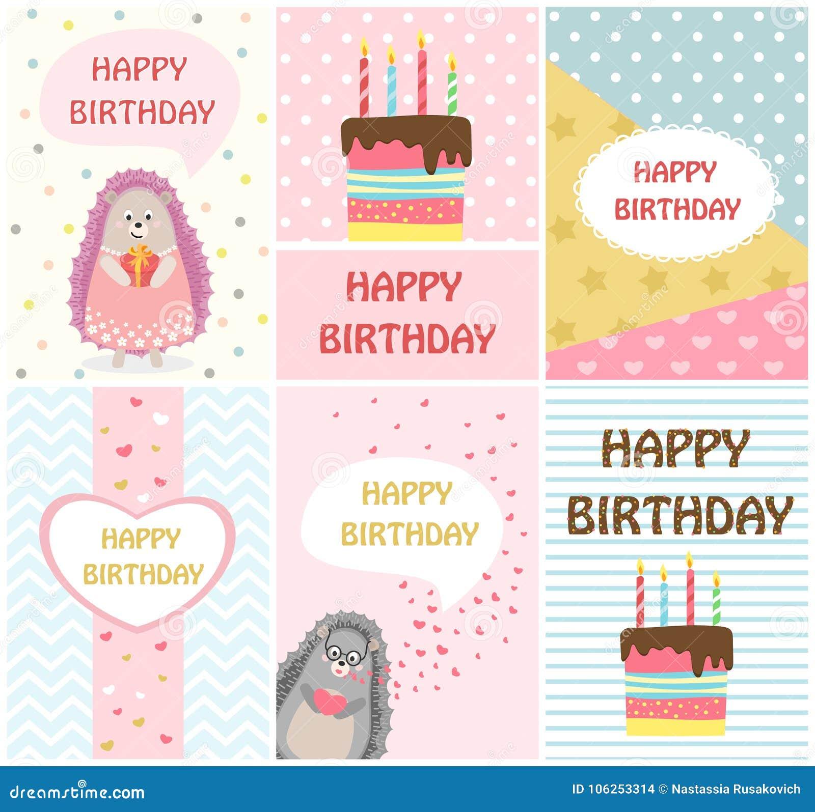 Plantillas de las tarjetas de felicitación del feliz cumpleaños e invitaciones del partido para los niños, sistema de postales