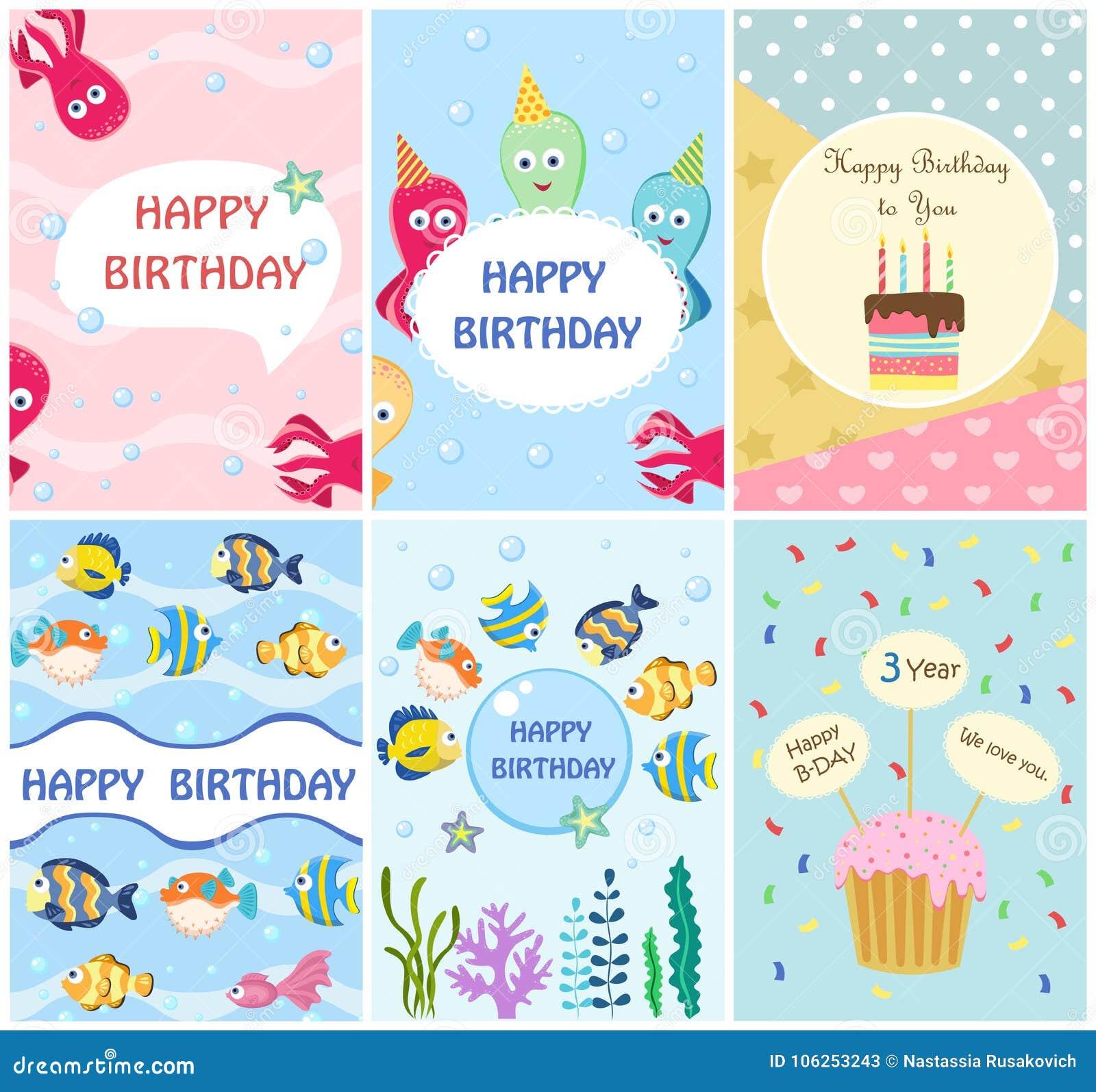 Plantillas de las tarjetas de felicitación del feliz cumpleaños e invitaciones del partido, sistema de postales