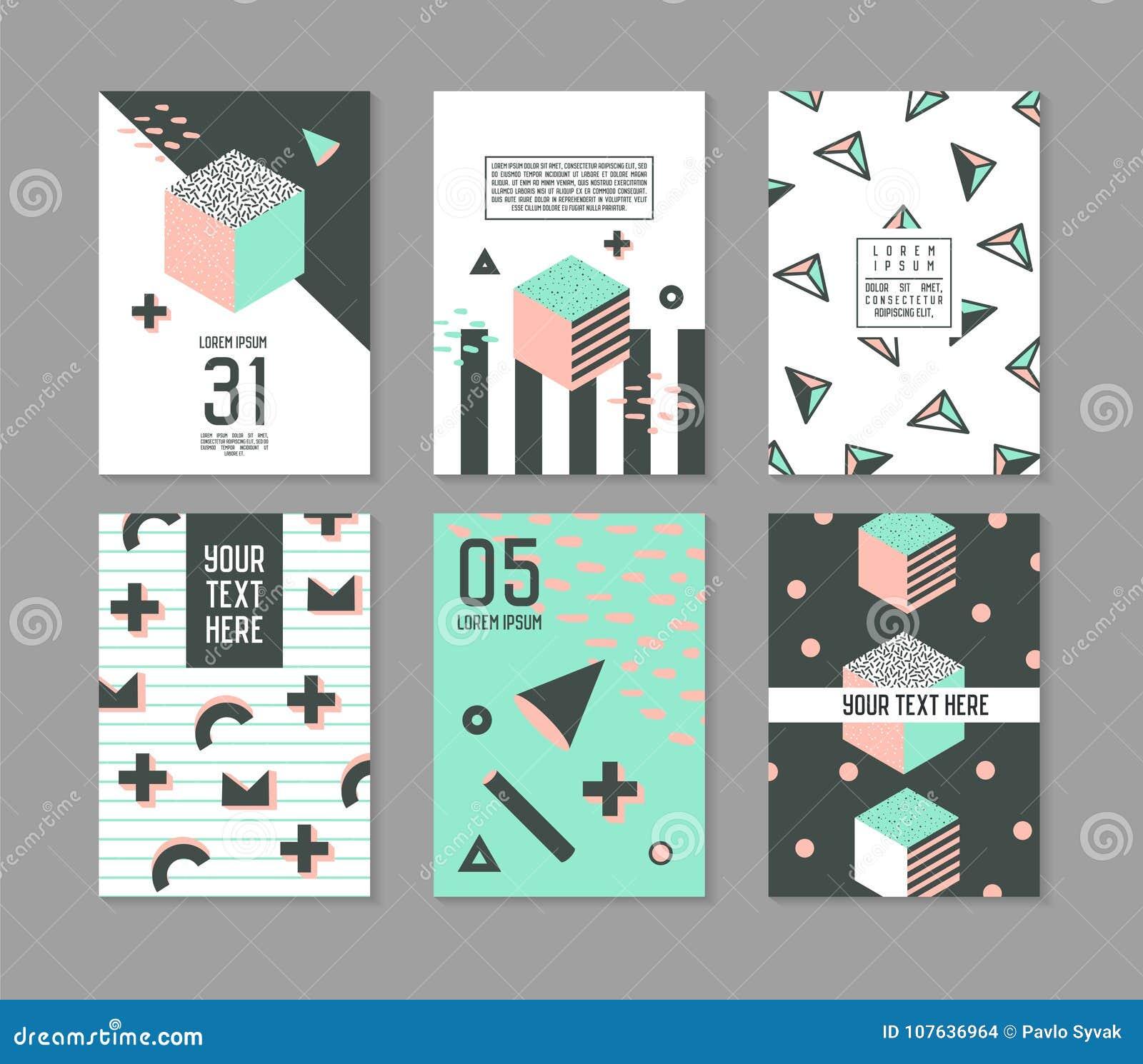 Plantillas de Memphis Style Geometric Elements Poster fijadas La moda abstracta 80s 90s del inconformista carda banderas del foll