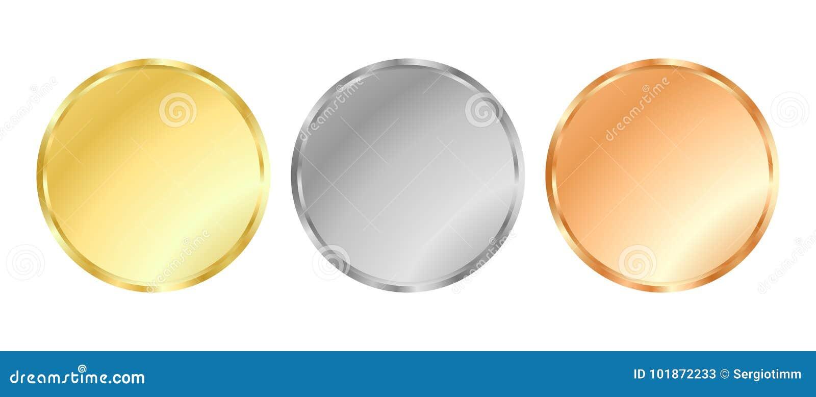 Plantillas de plata y de bronce de la medalla del oro,