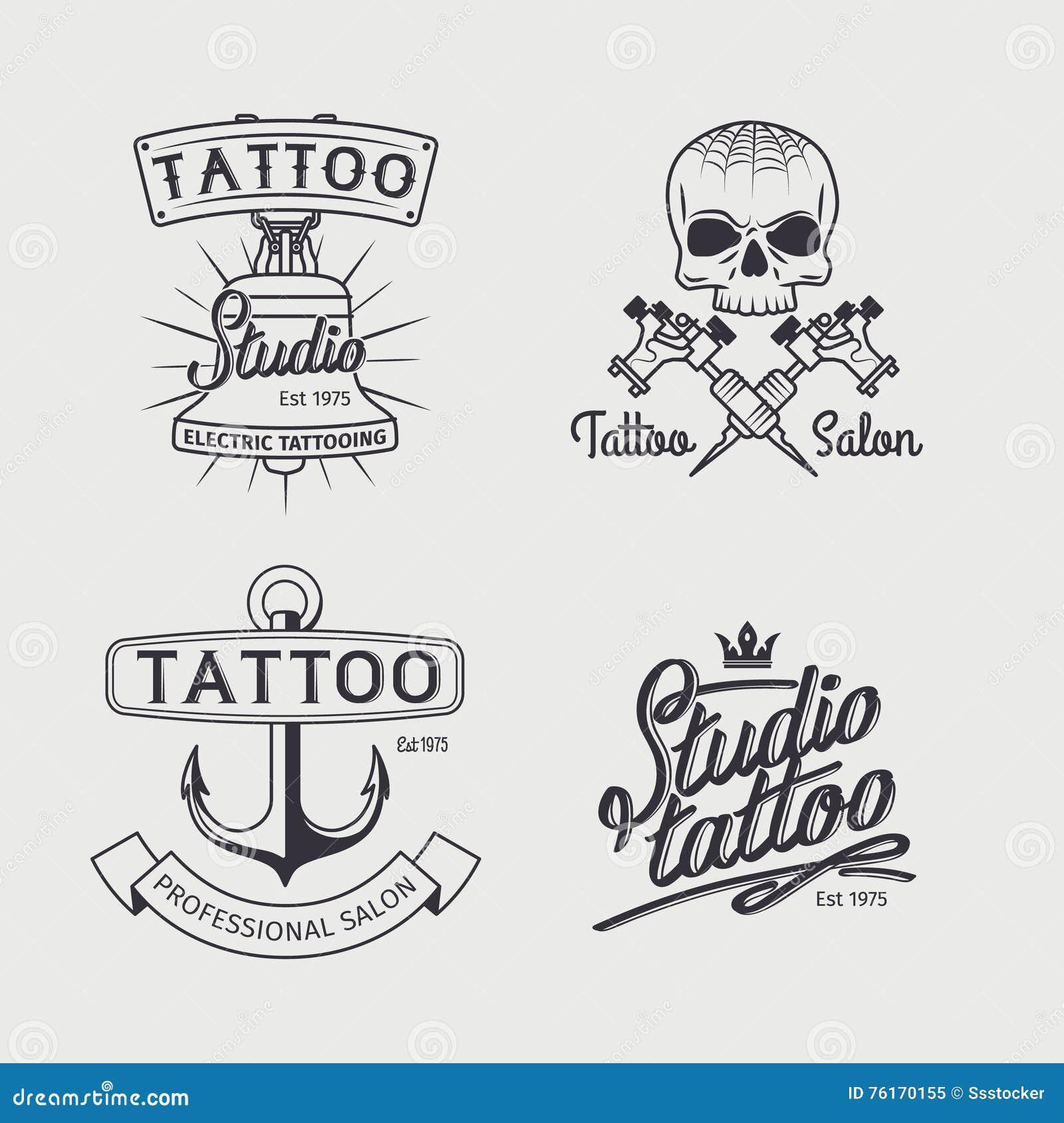 Plantillas Del Logotipo Del Estudio Del Tatuaje Ilustración Del