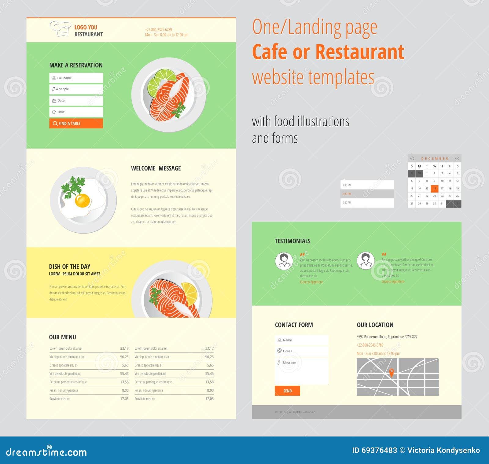 Plantillas Del Sitio Web Del Café O Del Restaurante De La Página Del ...