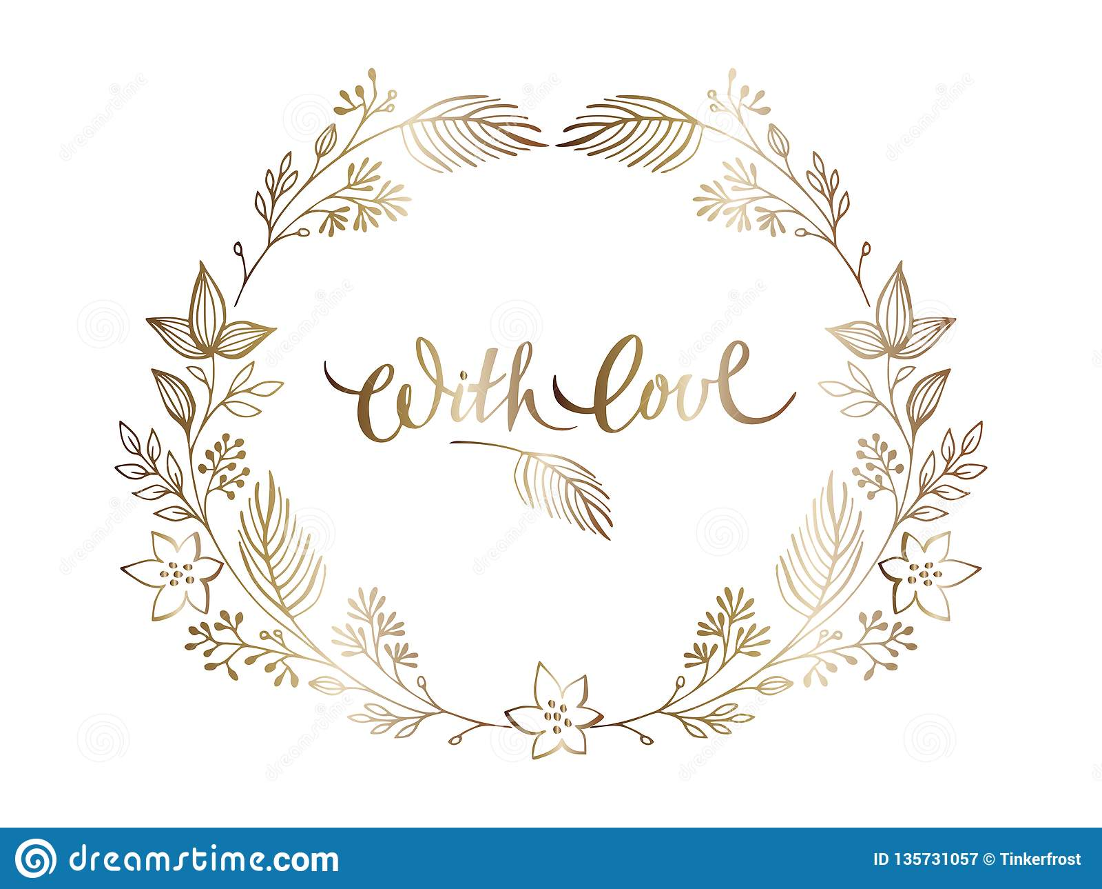 Plantillas elegantes del diseño floral del oro Casarse el ornamento elegante Letras del oro en marco floral adornado