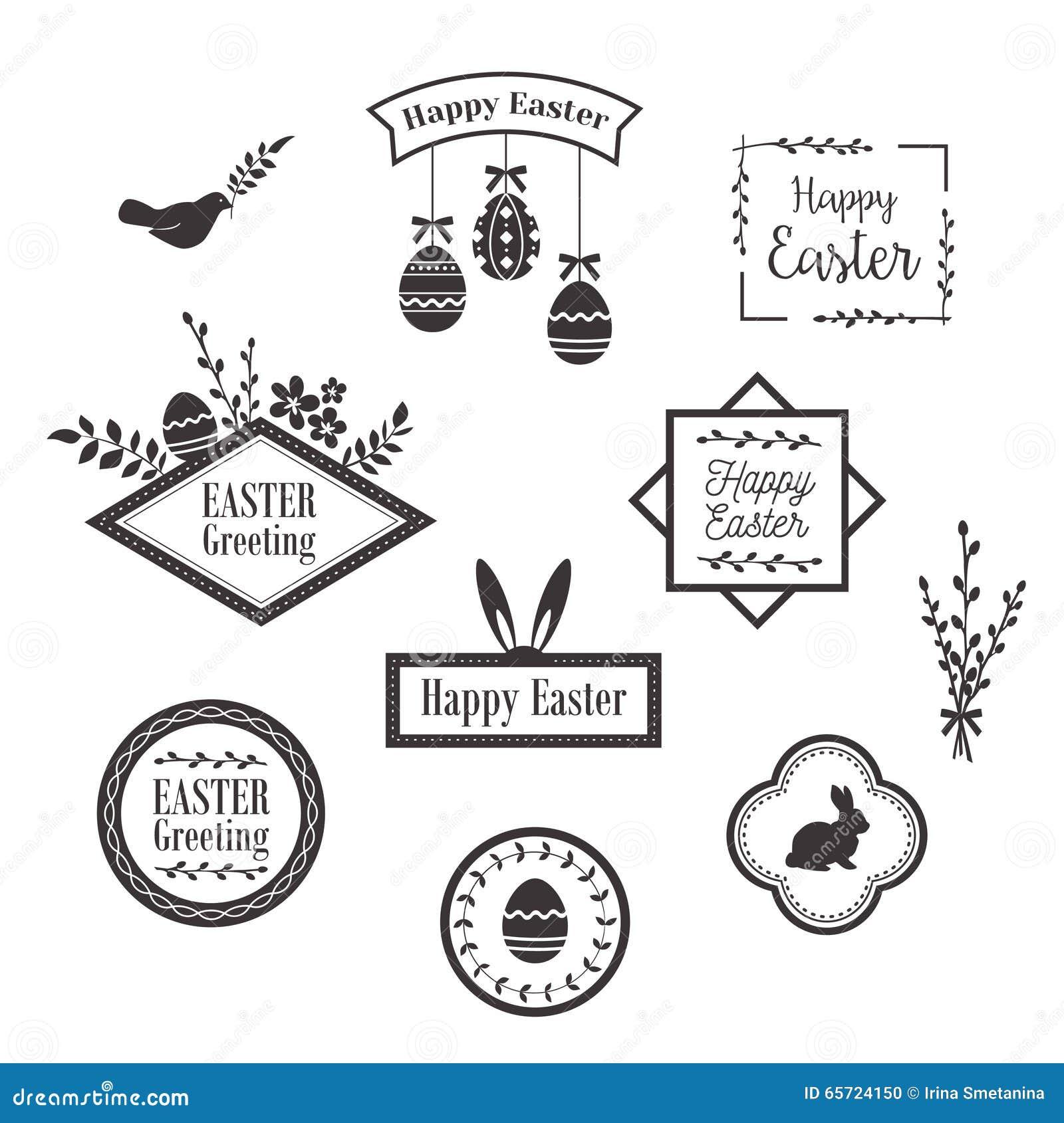 Plantillas felices, iconos, etiquetas con los pájaros, huevos y conejos de Pascua