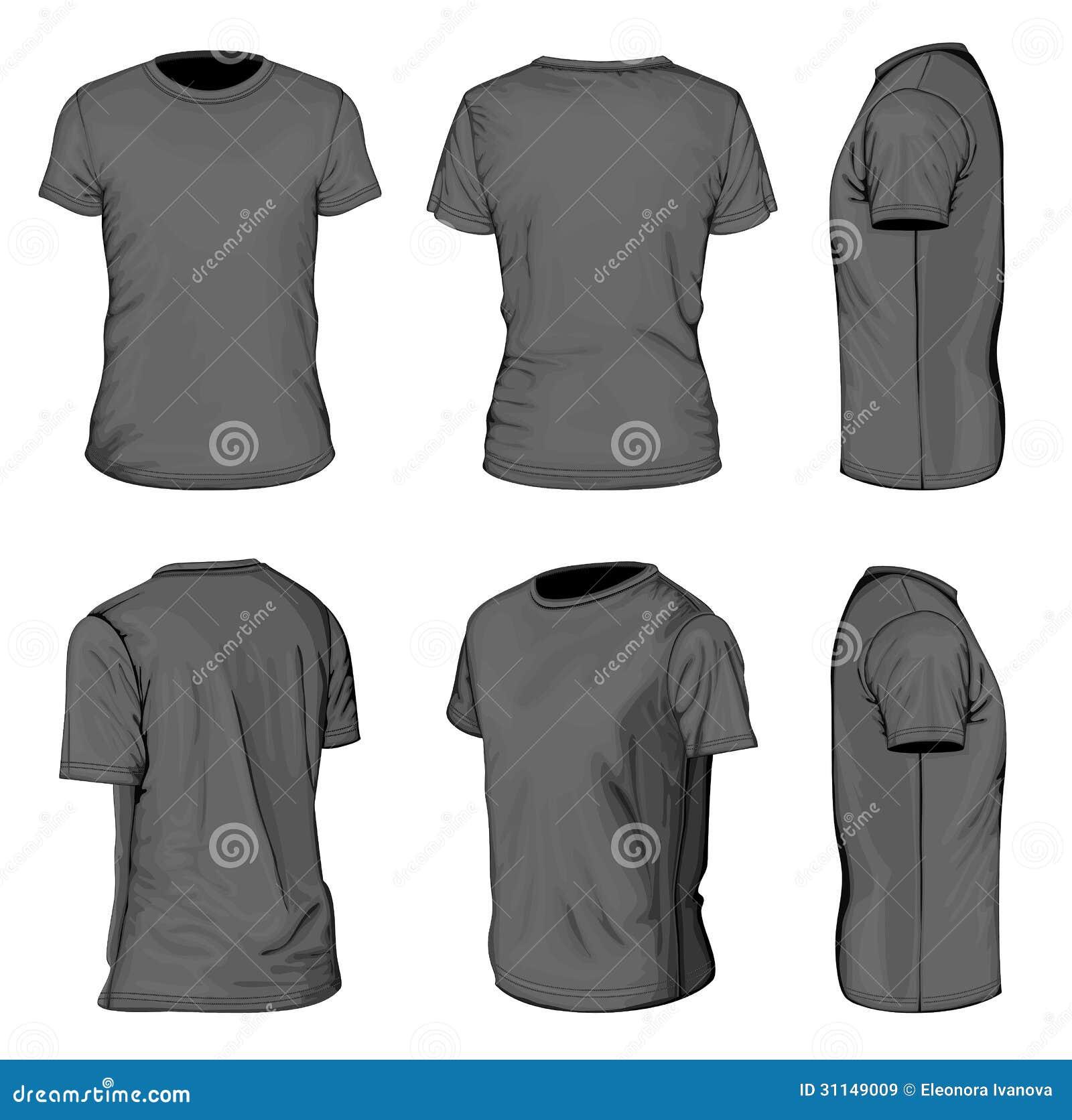 Plantillas negras del diseño de la camiseta de manga corta de los hombres