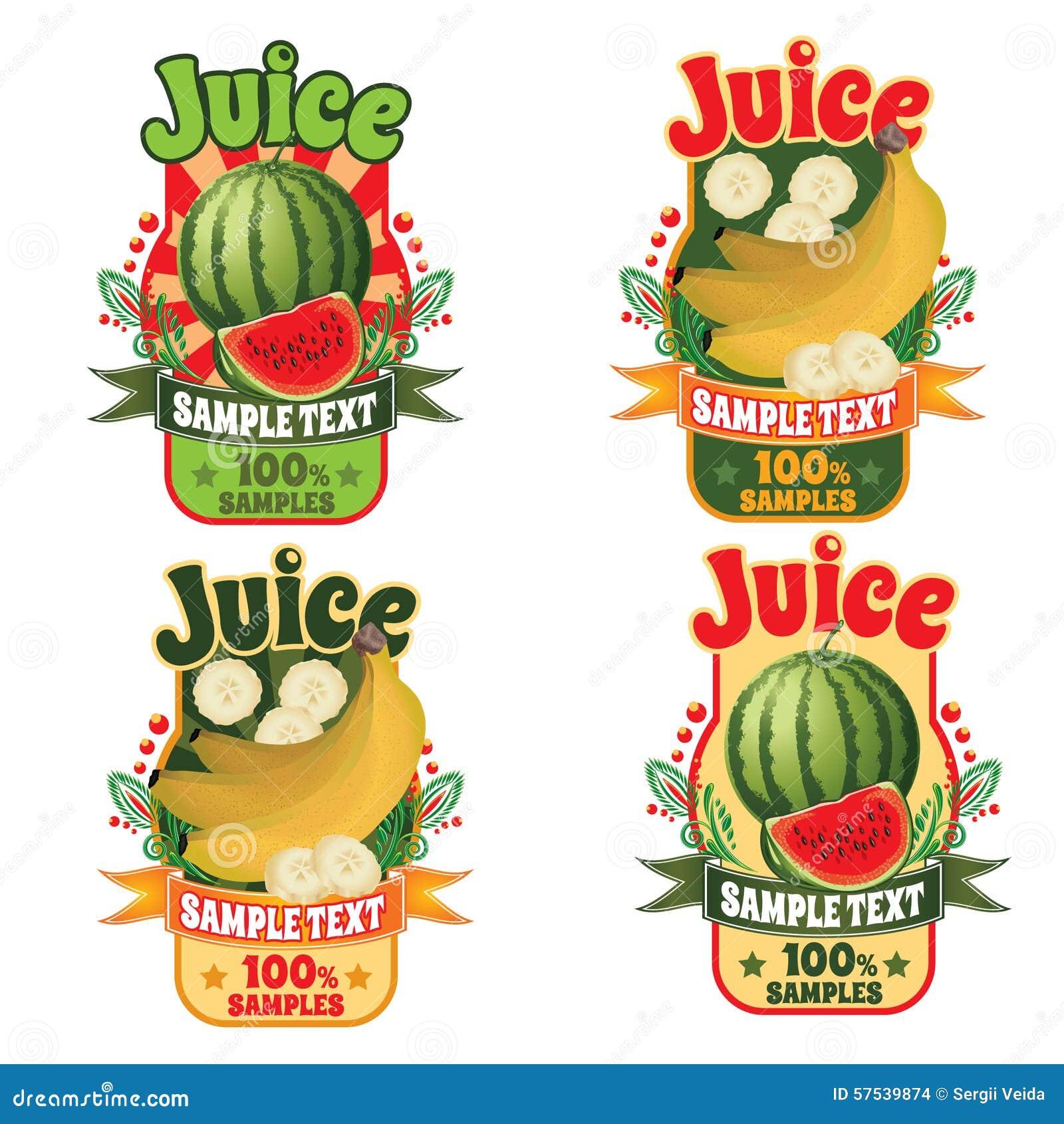 Plantillas Para Las Etiquetas Del Jugo De Plátanos Y De La Sandía ...