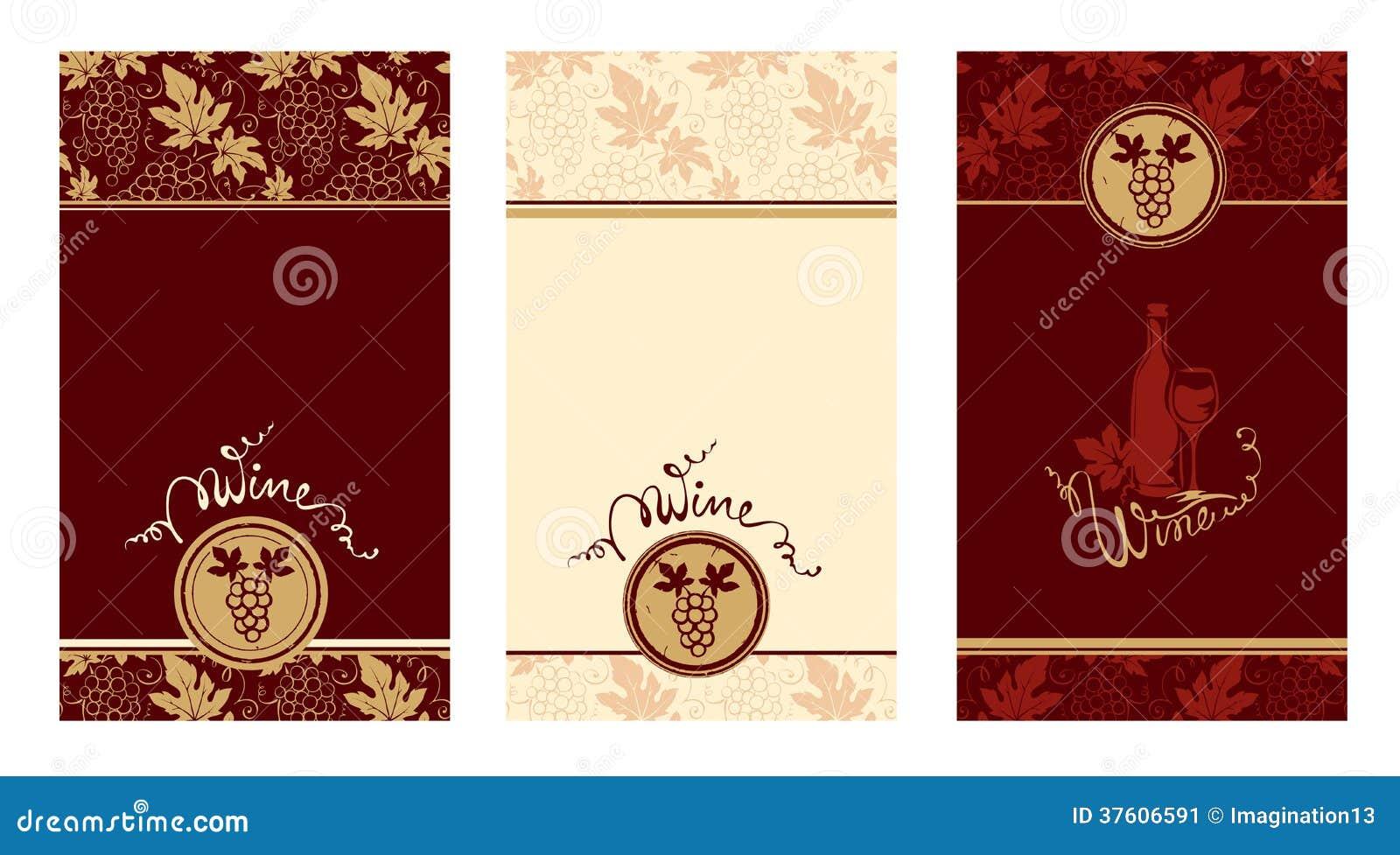 Plantillas Para Las Etiquetas Del Vino Ilustración del Vector ...
