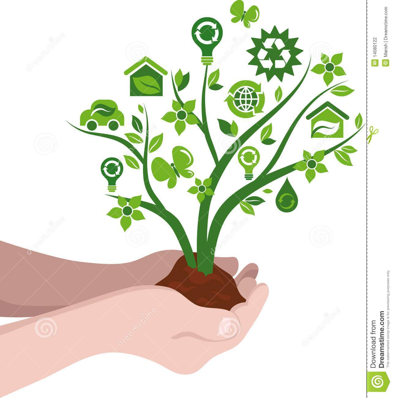 Planting Trees Eco Concept Stock Vector. Illustration Of