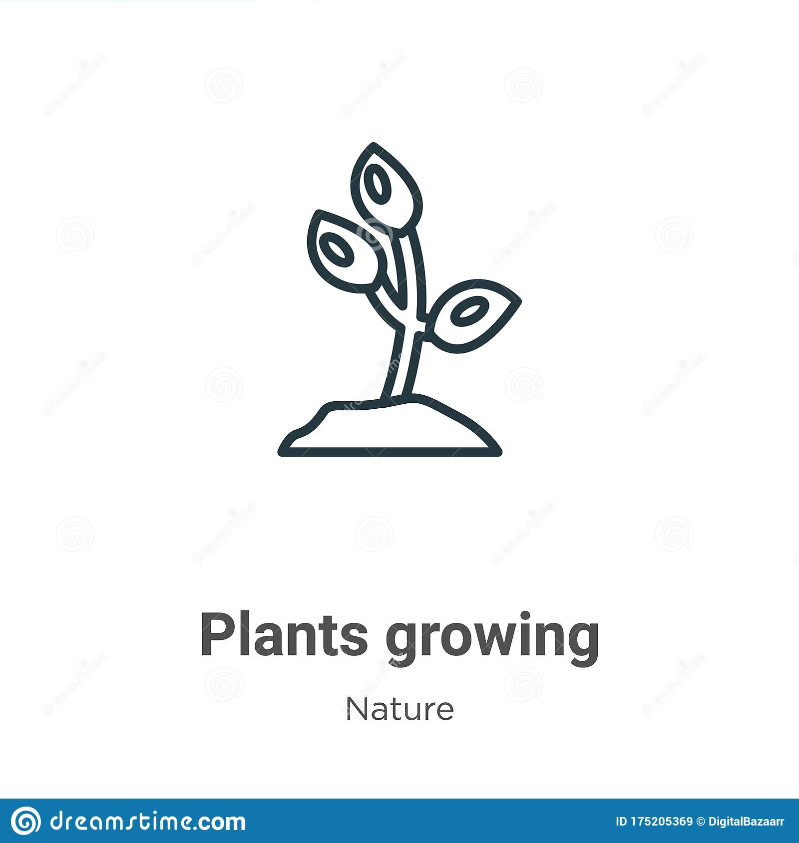 Plants Growing Outline Vector Icon. Thin Line Black Plants