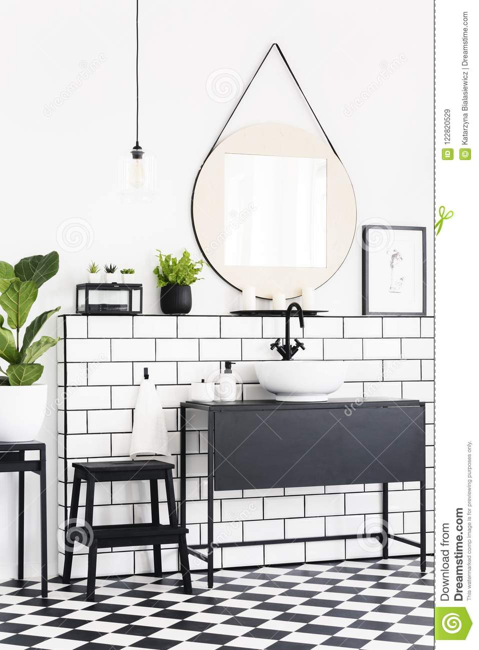 Astonishing Plants And Mirror In Black And White Bathroom Interior With Spiritservingveterans Wood Chair Design Ideas Spiritservingveteransorg
