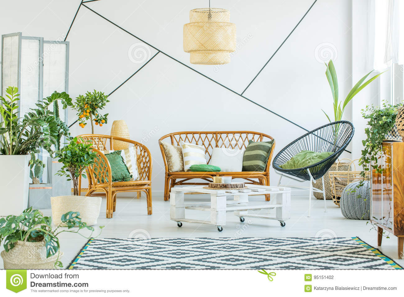 Plants In Modern Living Room Stock Photo - Image of open, orange ...