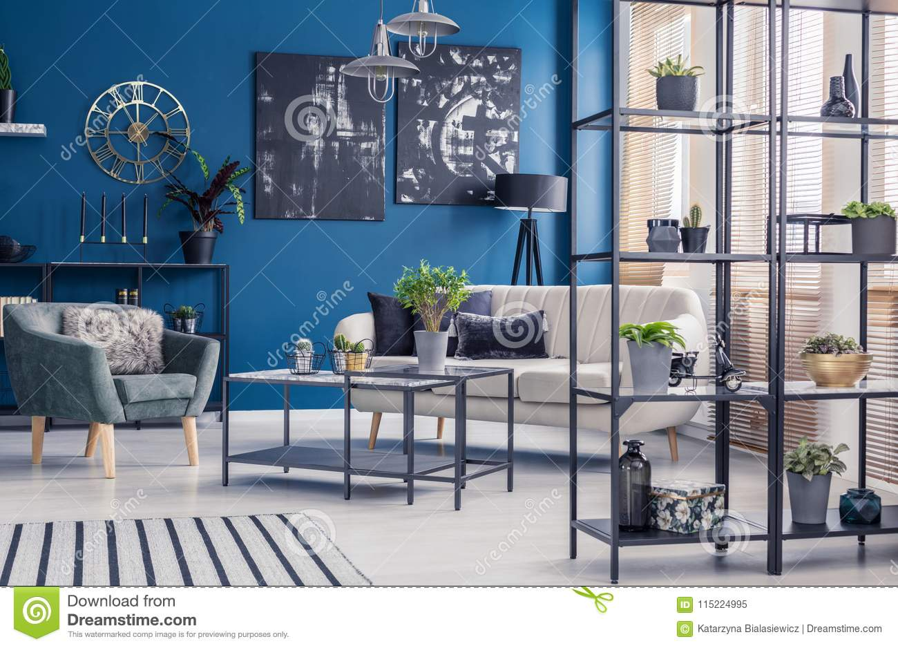 Picture of: Navy Blue Living Room Interior Stock Image Image Of Elegant Room 115224995
