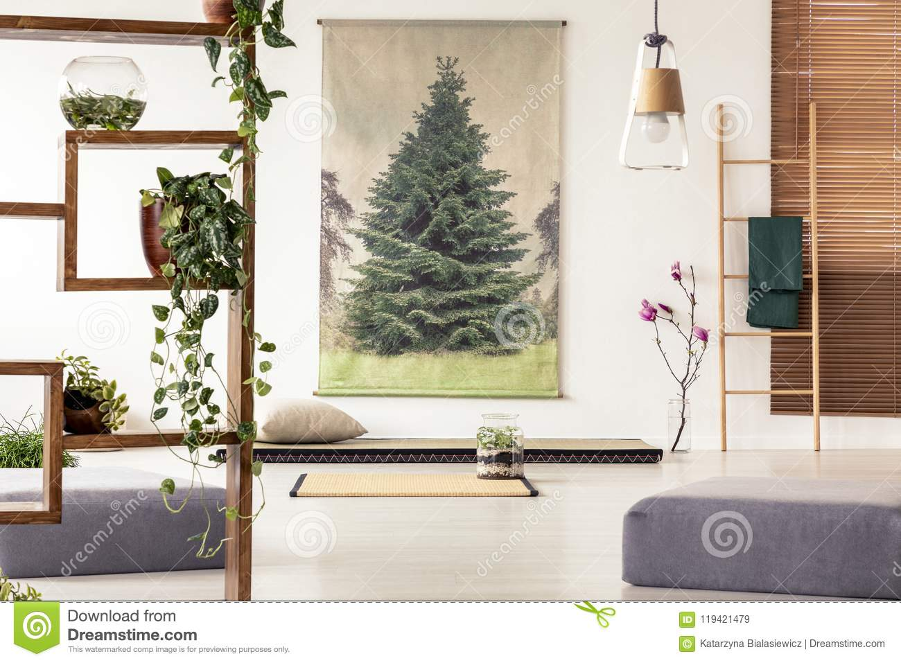 Plants On A Wooden Shelf In An Oriental Living Room Interior Wit ...