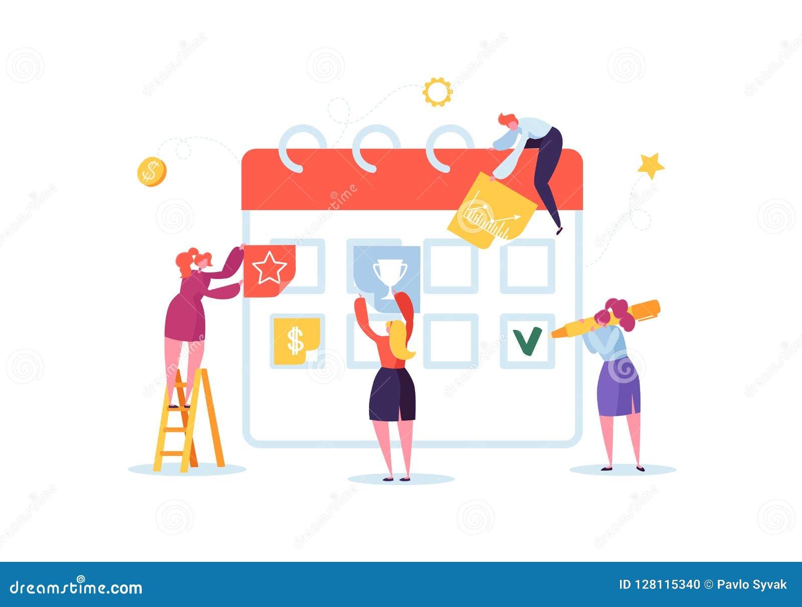 Planungs-Zeitplan-Konzept mit den Geschäfts-Charakteren, die mit Planer arbeiten Team Work Together Flache Leute Teamworking