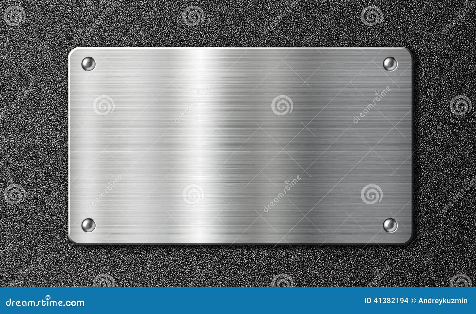 plaque de m tal d 39 acier inoxydable sur la texture noire illustration stock image 41382194. Black Bedroom Furniture Sets. Home Design Ideas