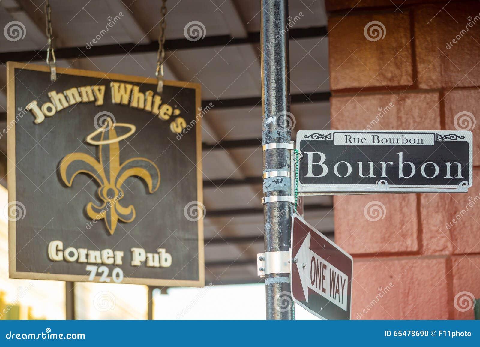 Plaque de rue de Bourbon dans le quartier français de la Nouvelle-Orléans