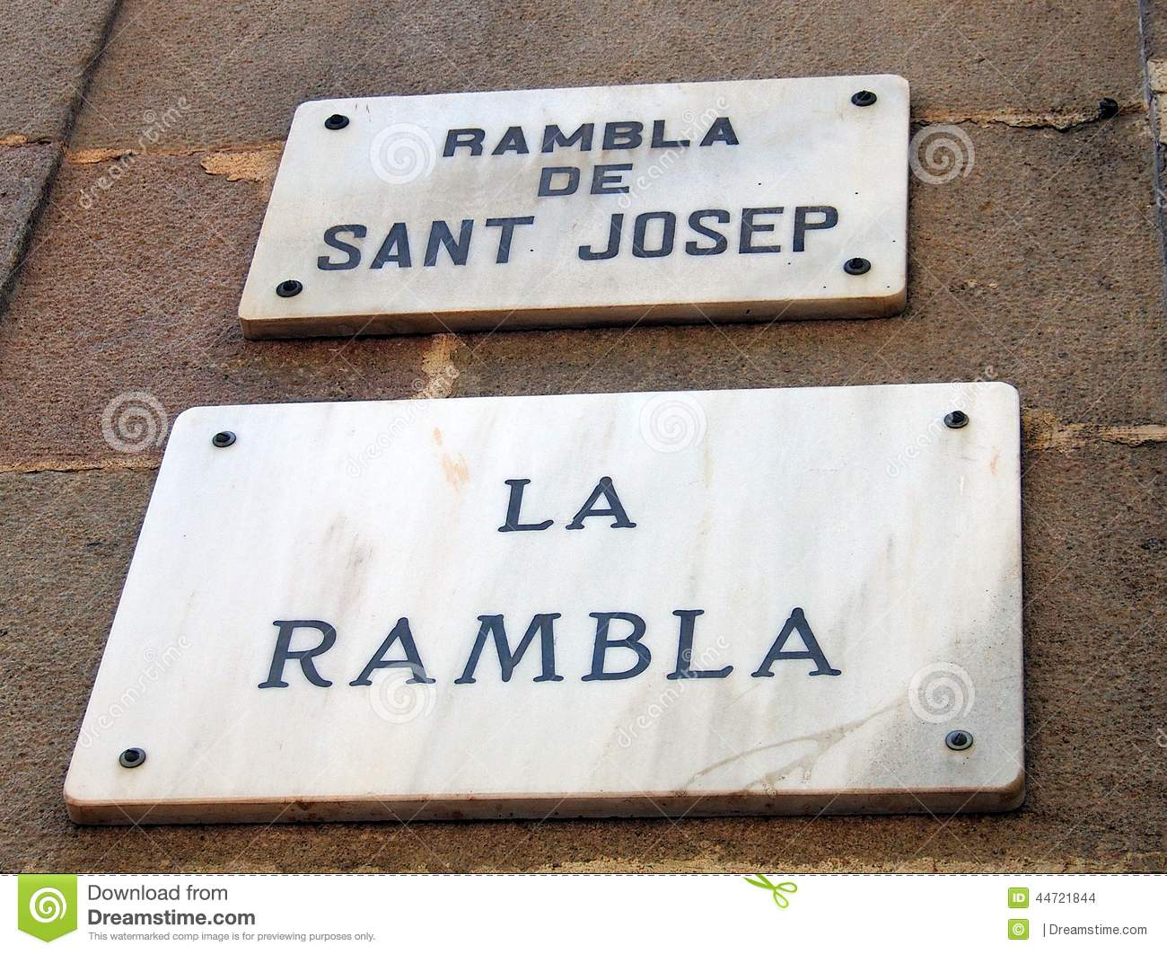 plaque de rue de marbre de rambla de la barcelone photo. Black Bedroom Furniture Sets. Home Design Ideas