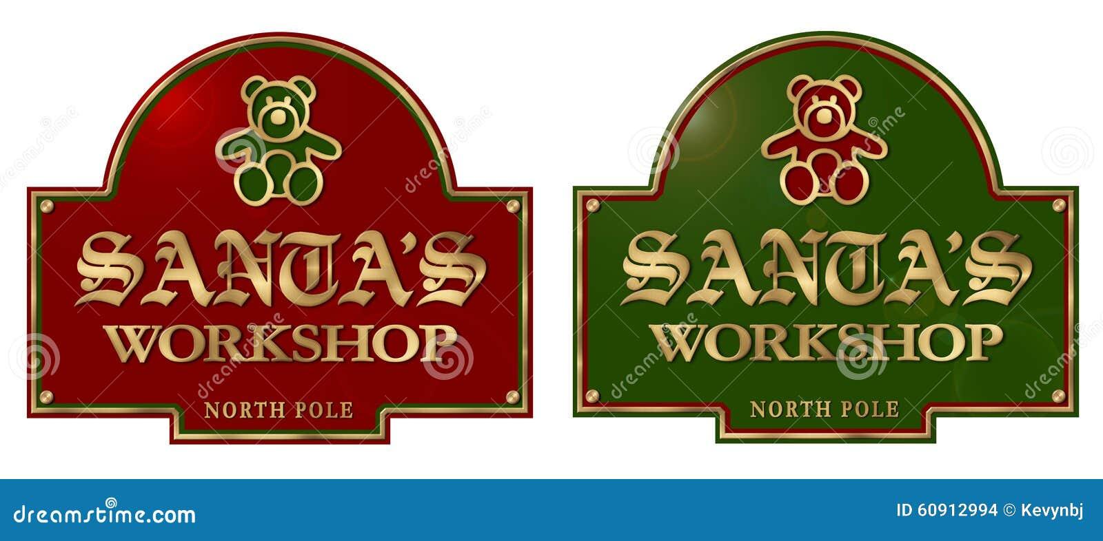 Plaque de signe de l atelier de Santa