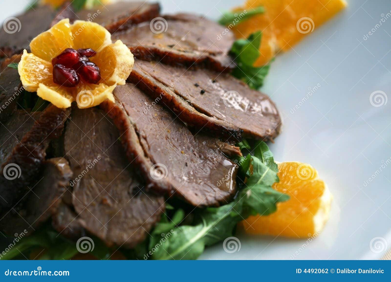 Plaque de viande de canard