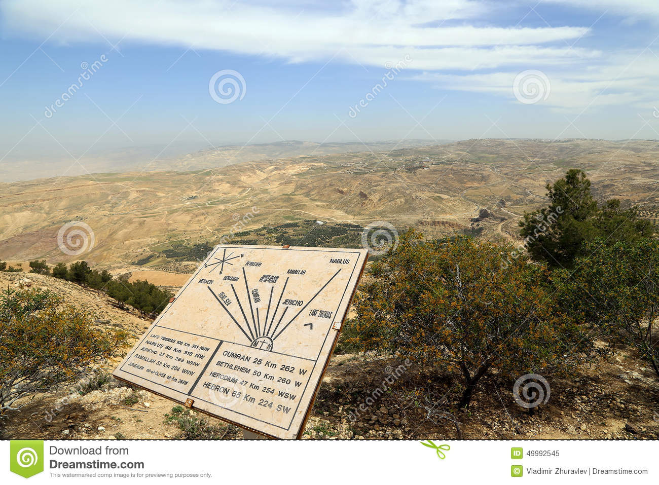 Plaque showing the distance from Mount Nebo to various locations, Jordan, Middle East