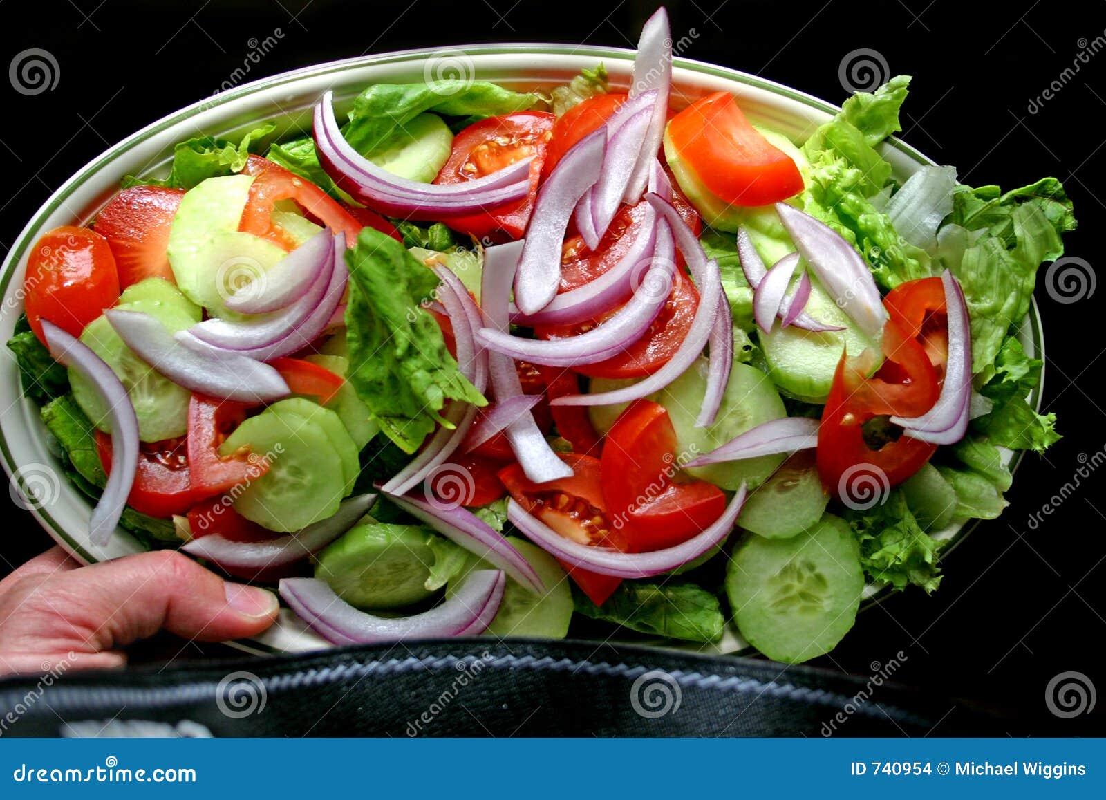 Plaque tenue dans la main de salade