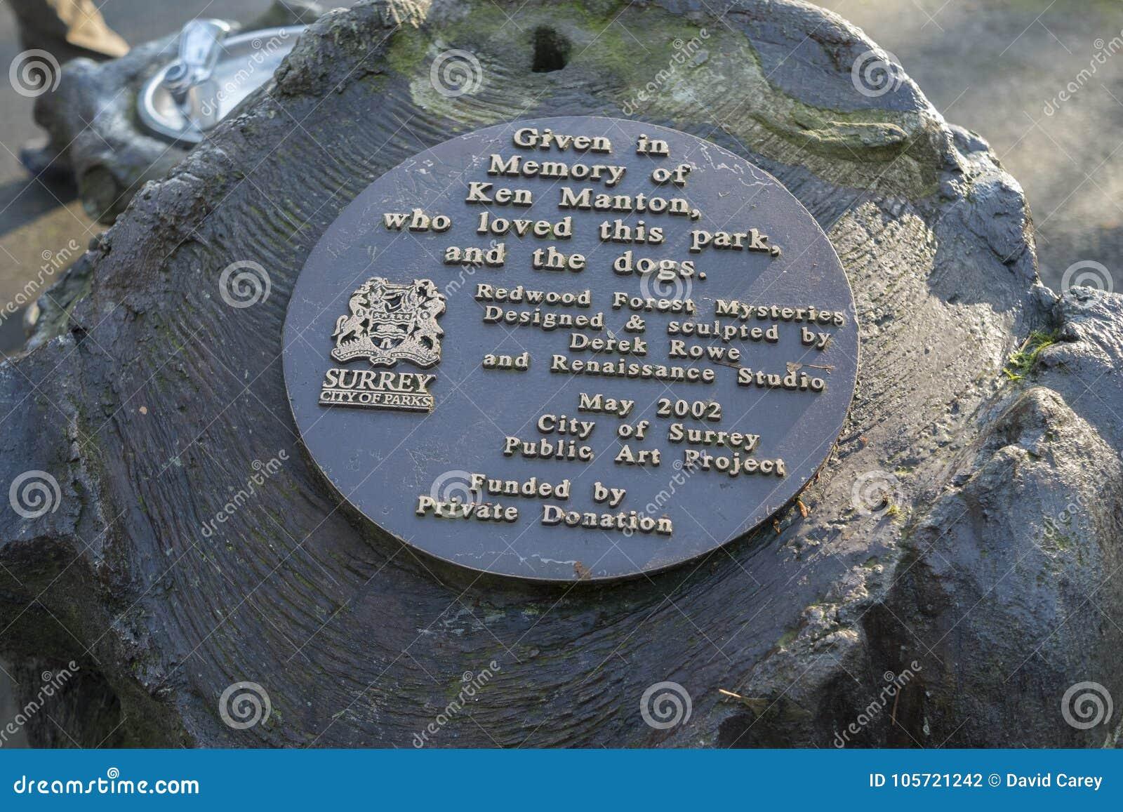 Plaque voor het Openbare de Kunstbeeldhouwwerk van het Californische sequoiapark