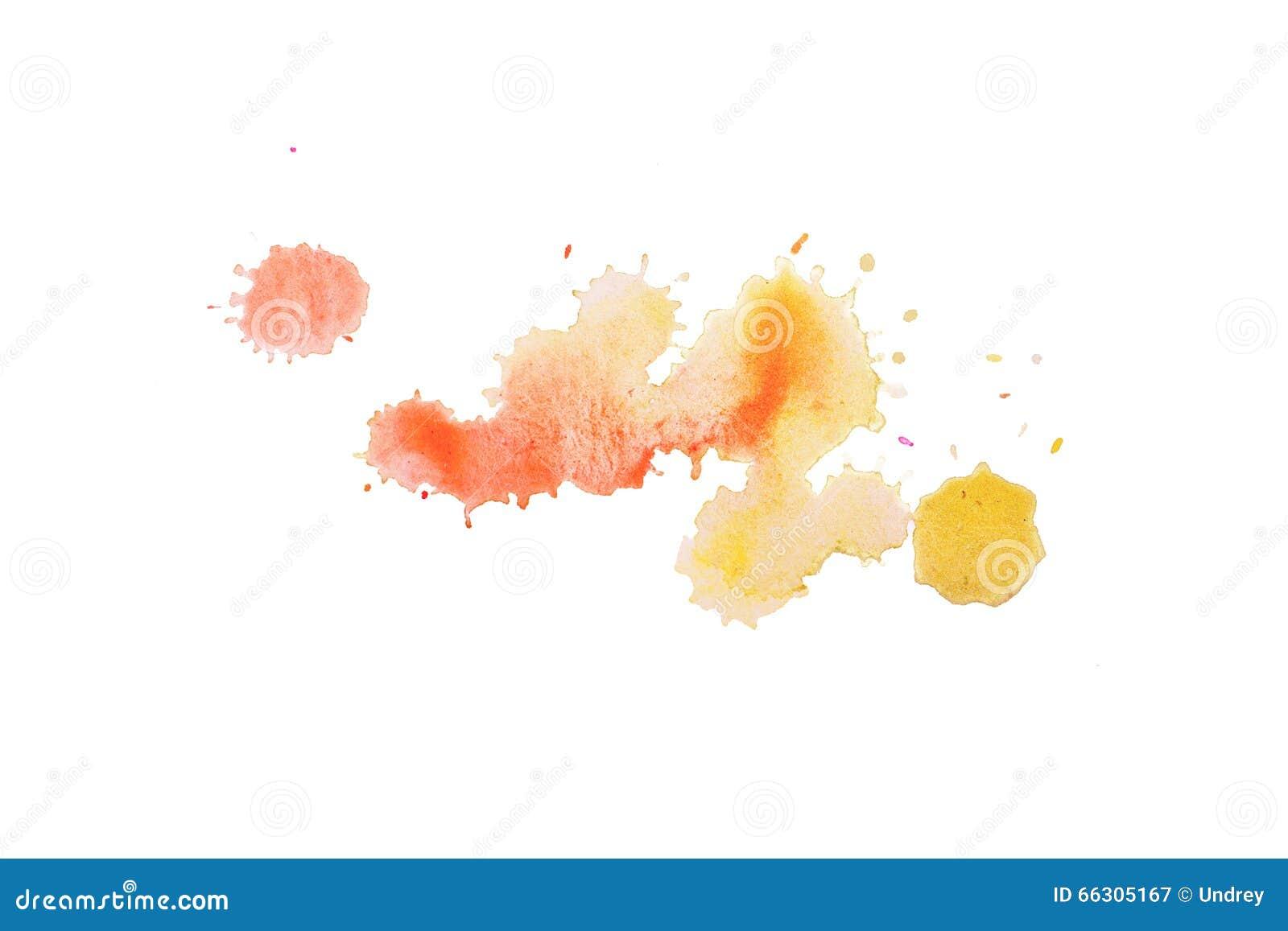 Plaskar den abstrakta målarfärg för fläcken för vattenfärgaquarellen handen dragen färgrik gul orange fläck