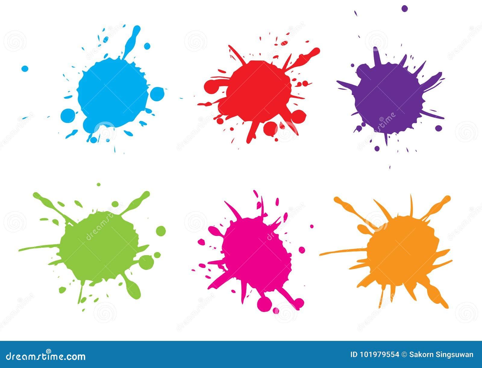 Plaskar färgrik målarfärg för vektorn måla set färgstänk Vektorillustrat