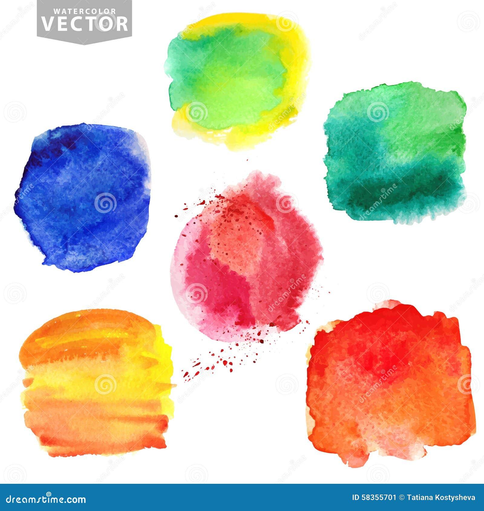 Plaskar vattenfärg Sommar ferieuppsättning brigham