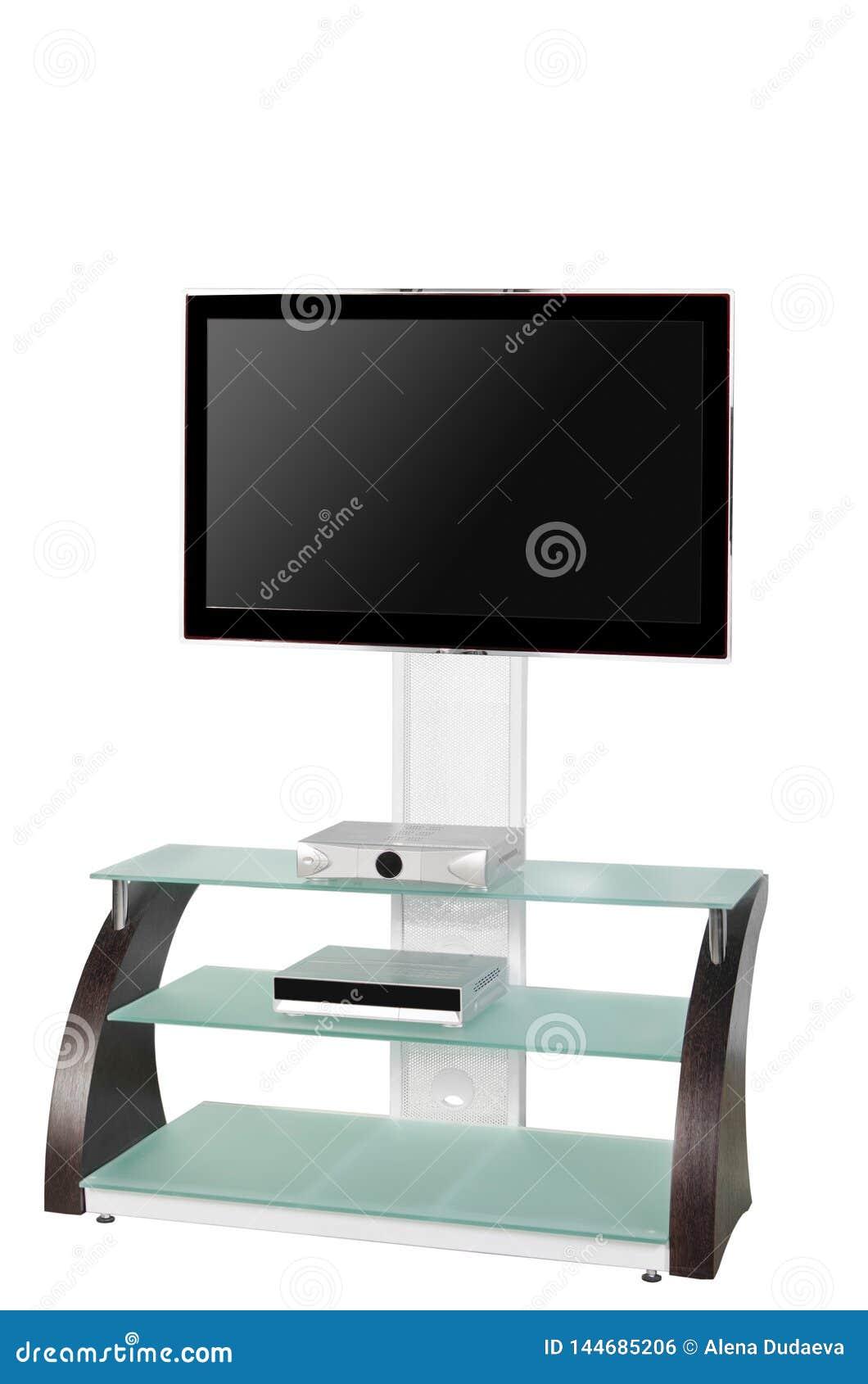 Plasma LEIDENE TV op een tribune die op een witte achtergrond wordt geïsoleerd