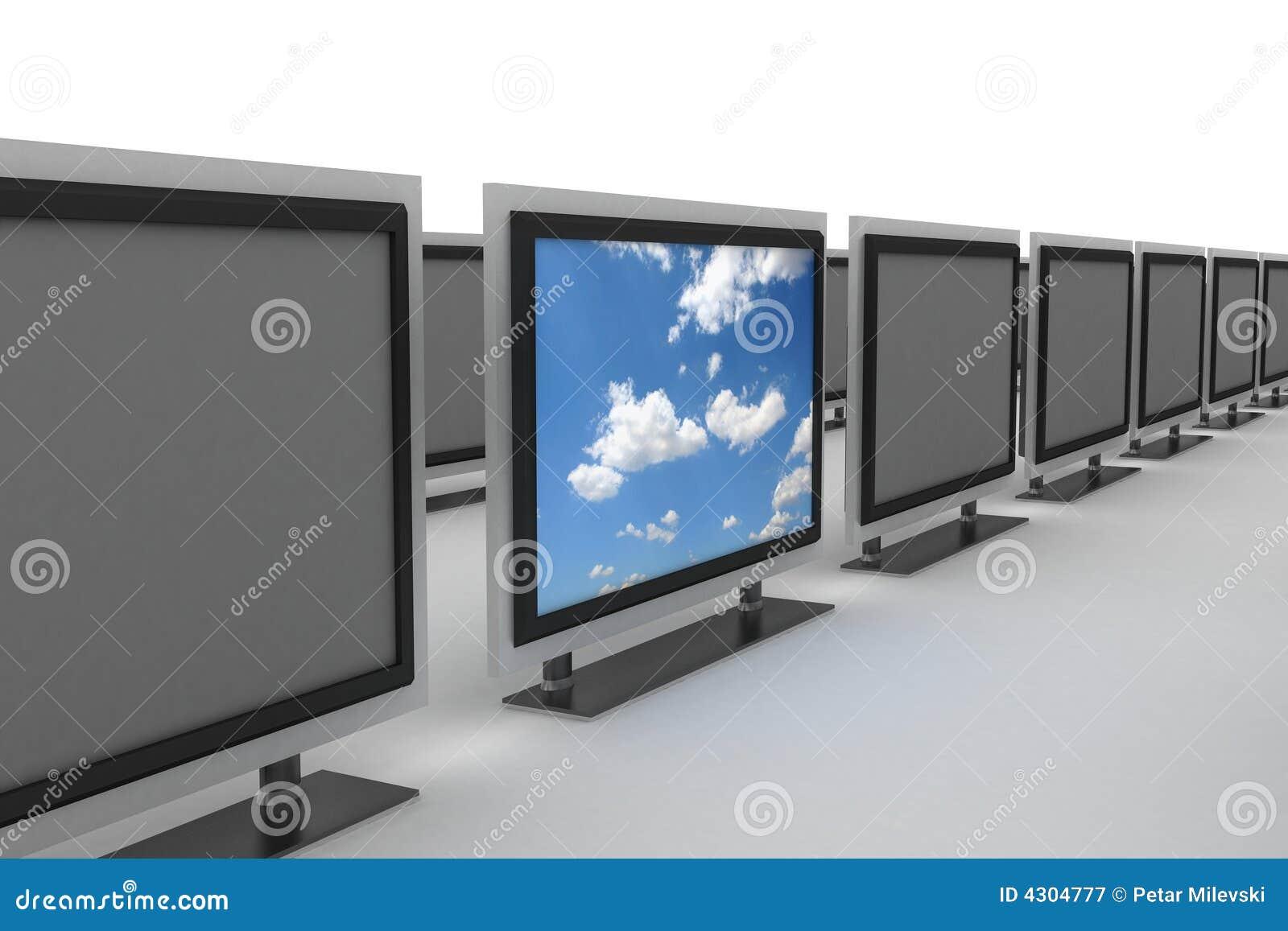 Plasma tv standing out 2 stock illustration  Illustration of
