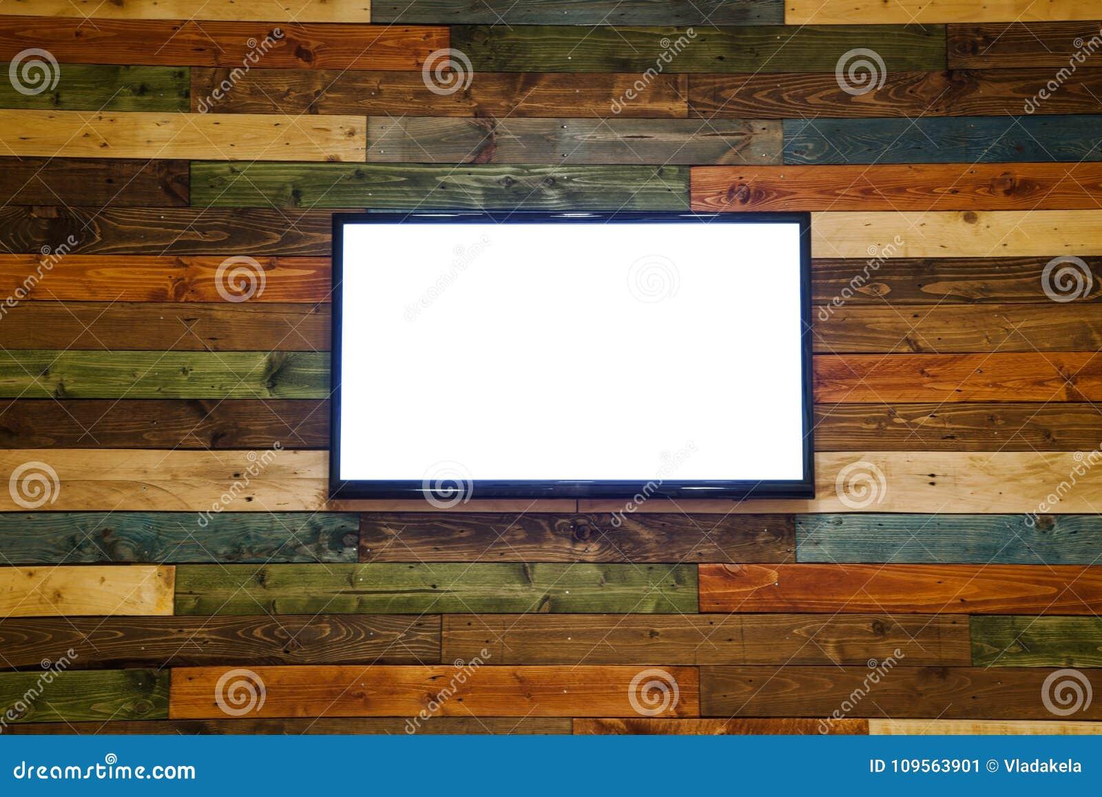 Plasma TV Sur Le Mur En Bois De La Salle, Plasma TV Accrochant Sur ...