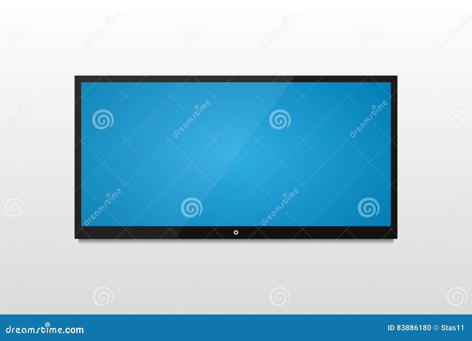 plasma tv sur un mur blanc avec l 39 ombre et l 39 cran bleu illustration de vecteur illustration. Black Bedroom Furniture Sets. Home Design Ideas