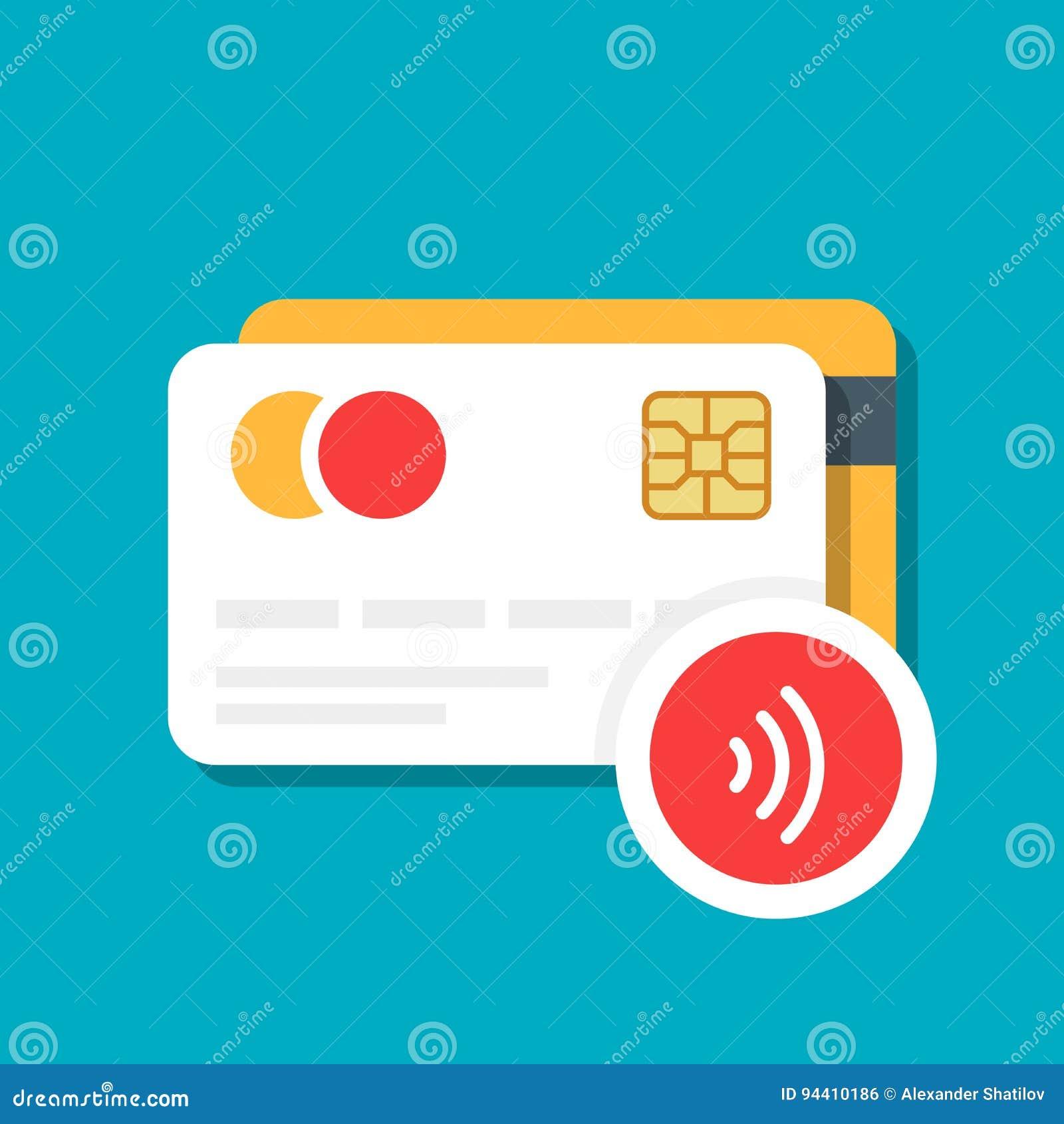 Plast- bank eller kreditkort med en trådlös betalningsymbol E-kommers Vektorillustration som isoleras på färgbakgrund