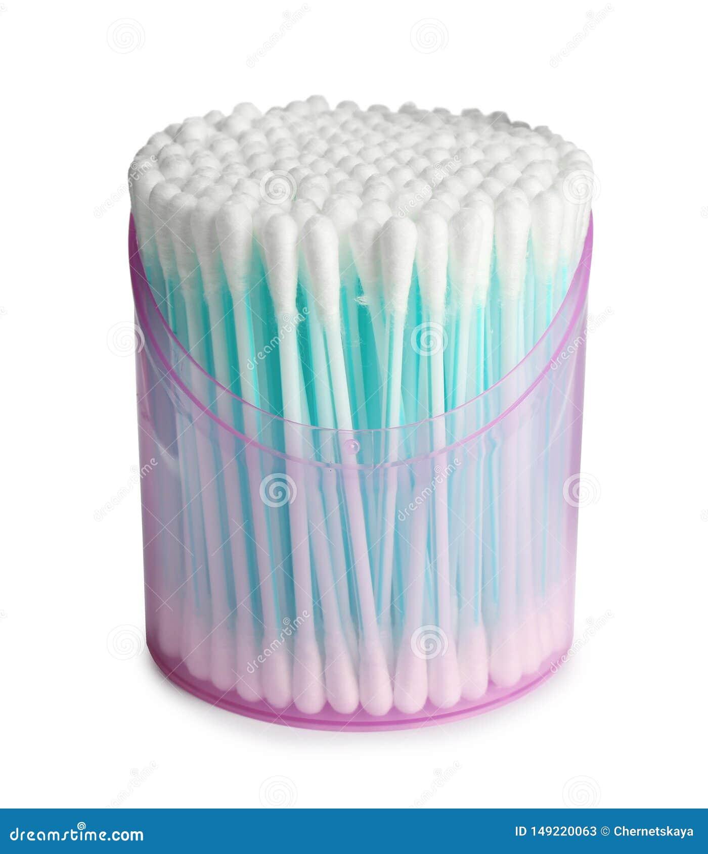 Plast- beh?llare med bomullsbomullstoppar p? vit