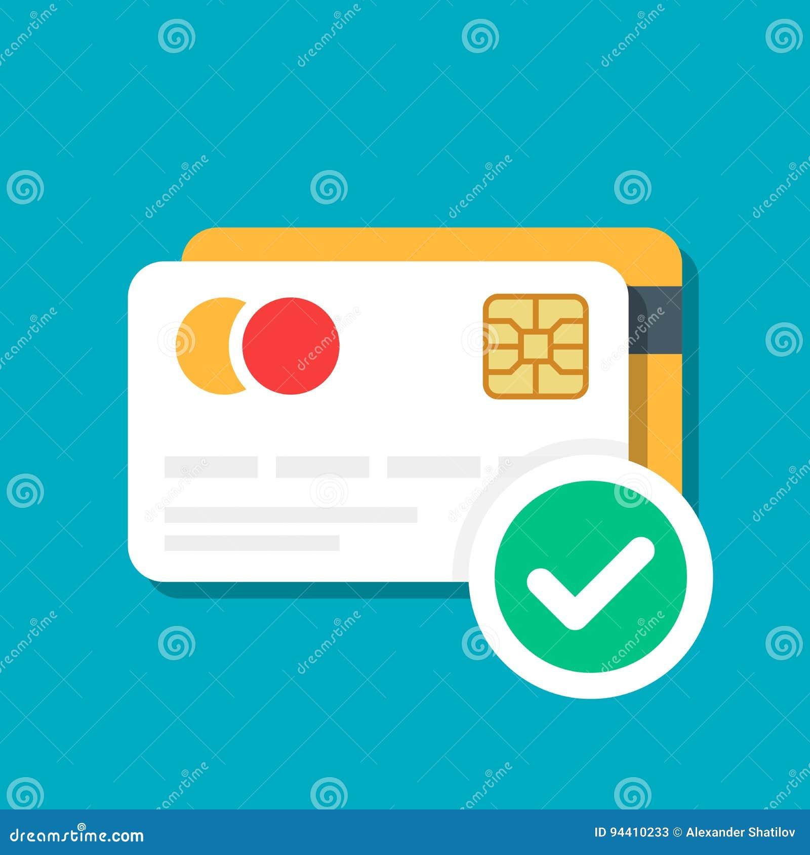 Plast- debitering eller kreditkort med en godkänd symbol för betalning Kontokort E-kommers Vektorillustration som isoleras på fär