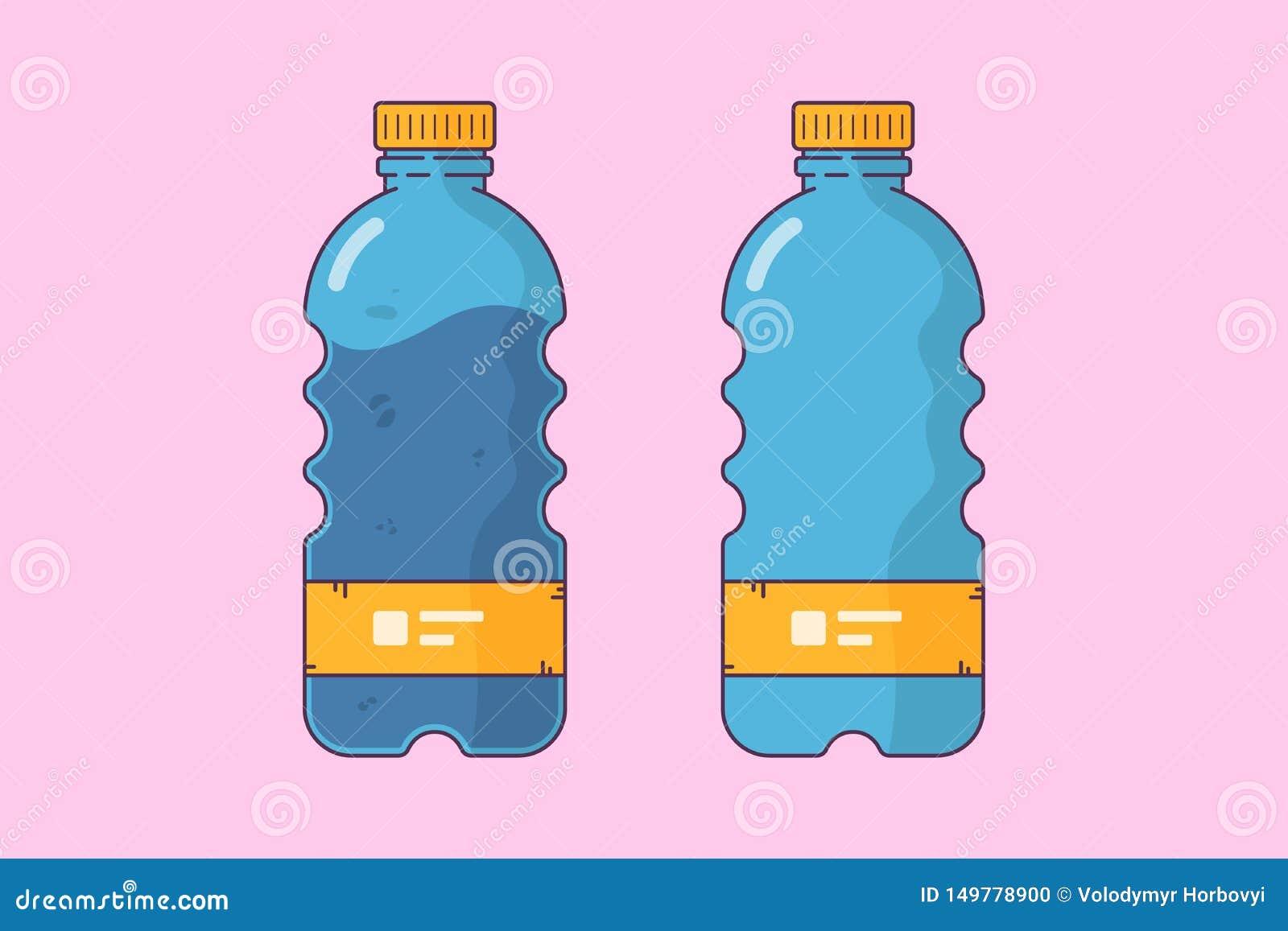 Plast- flaska för illustation för flaskor tom och full,