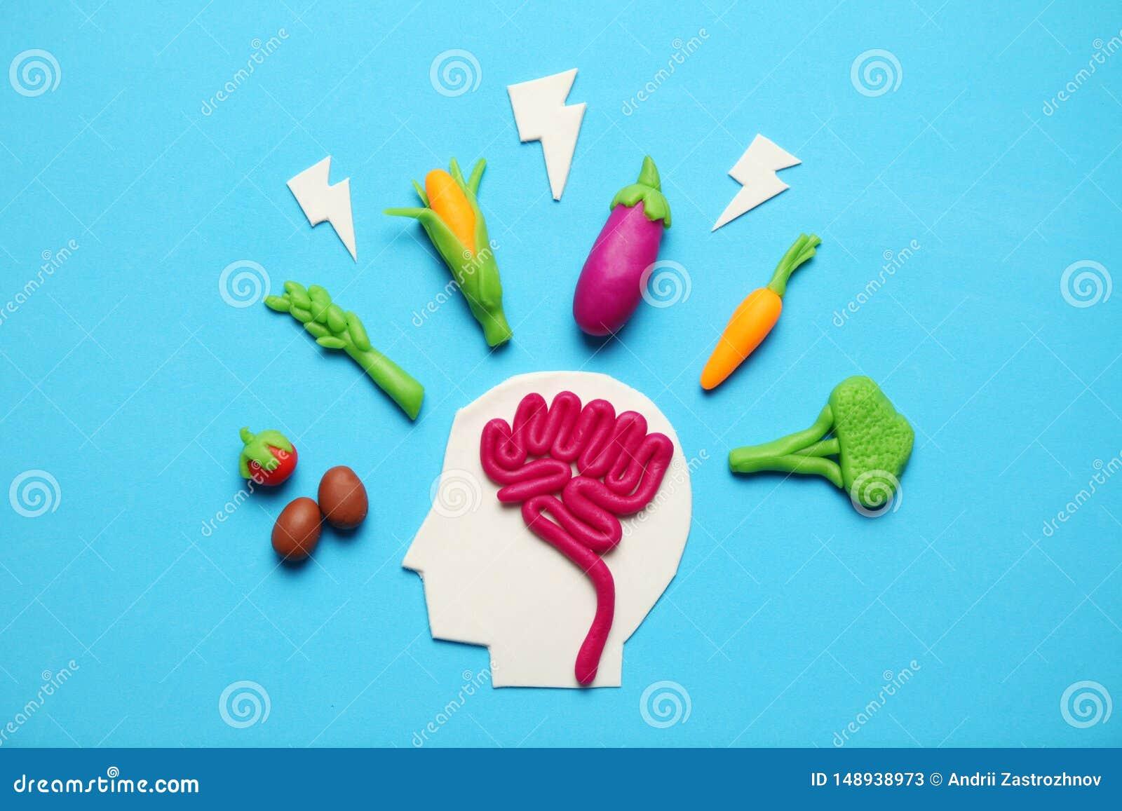 Plastellinadiagram av mannen och vegetarisk mat Mat för meningen, laddning av energi Sund livsstil, detoxification och antioxidan