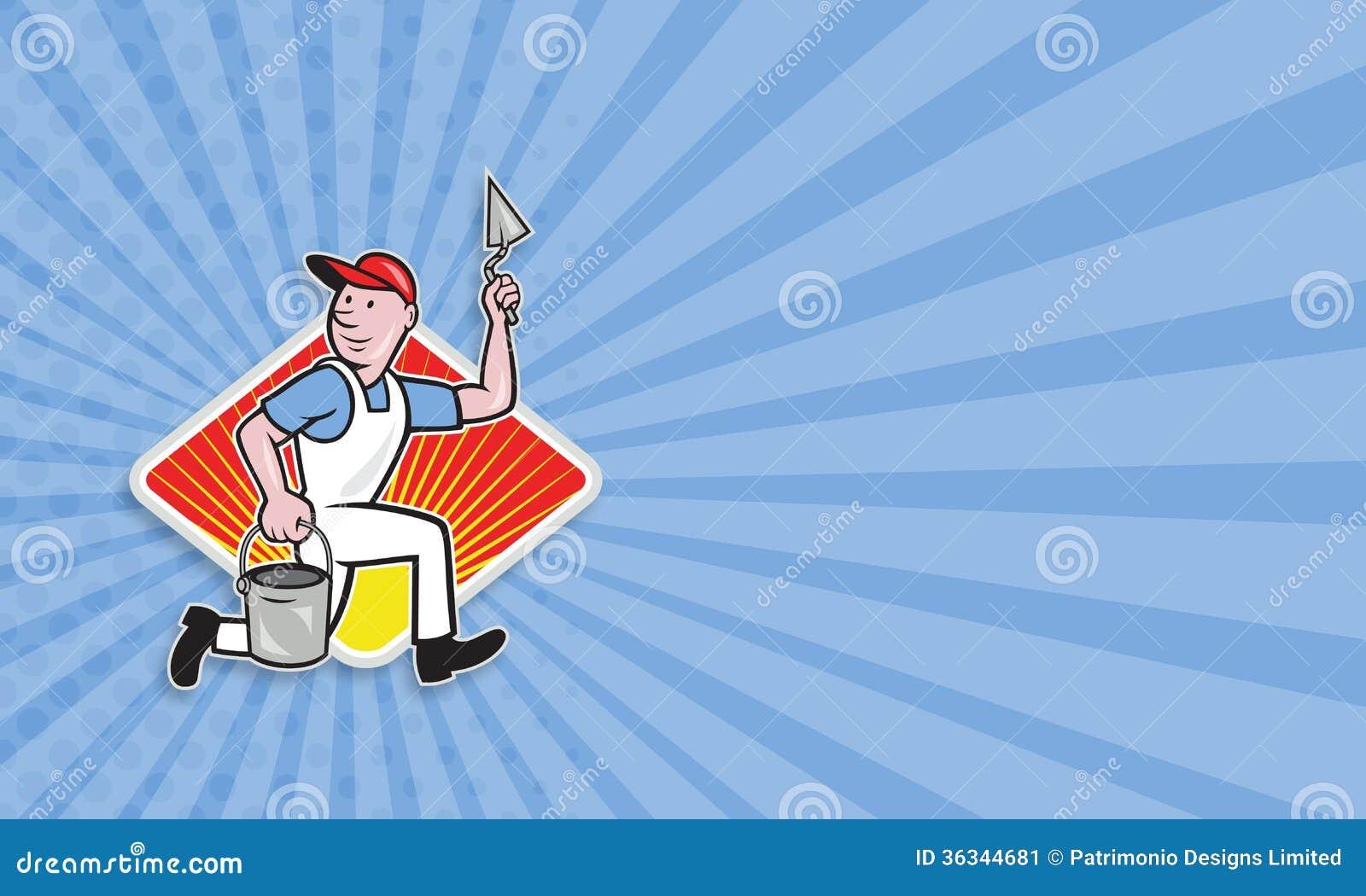 plaster masonry worker cartoon stock image