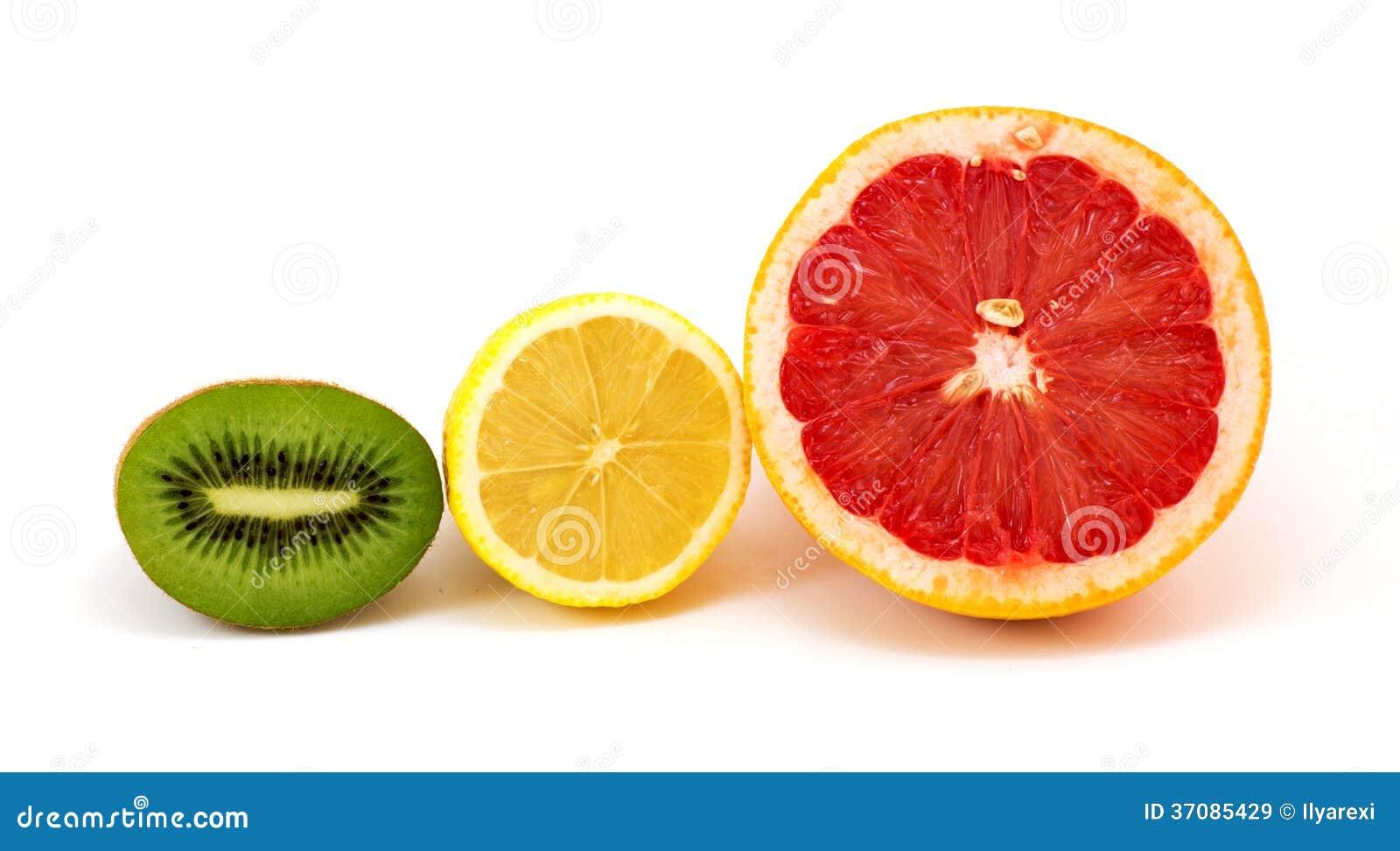 Download Plasterki Kiwi, Cytryna, Grapefruitowa Obraz Stock - Obraz złożonej z natura, cytryna: 37085429