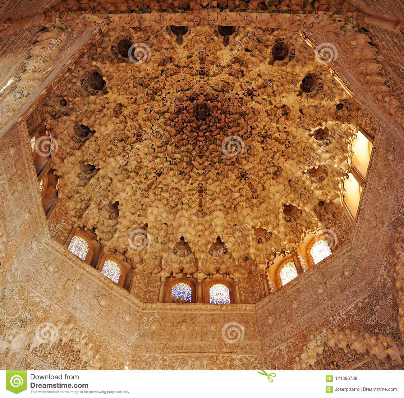 Plasterwork Decoration In The Dome Of The Room Of Two