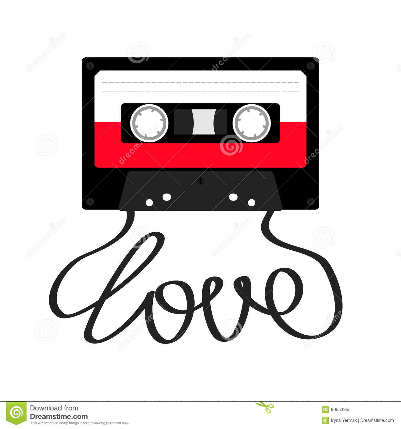 Plastic Audio Tape Cassette With Tape Word Love. Retro Music Icon ...