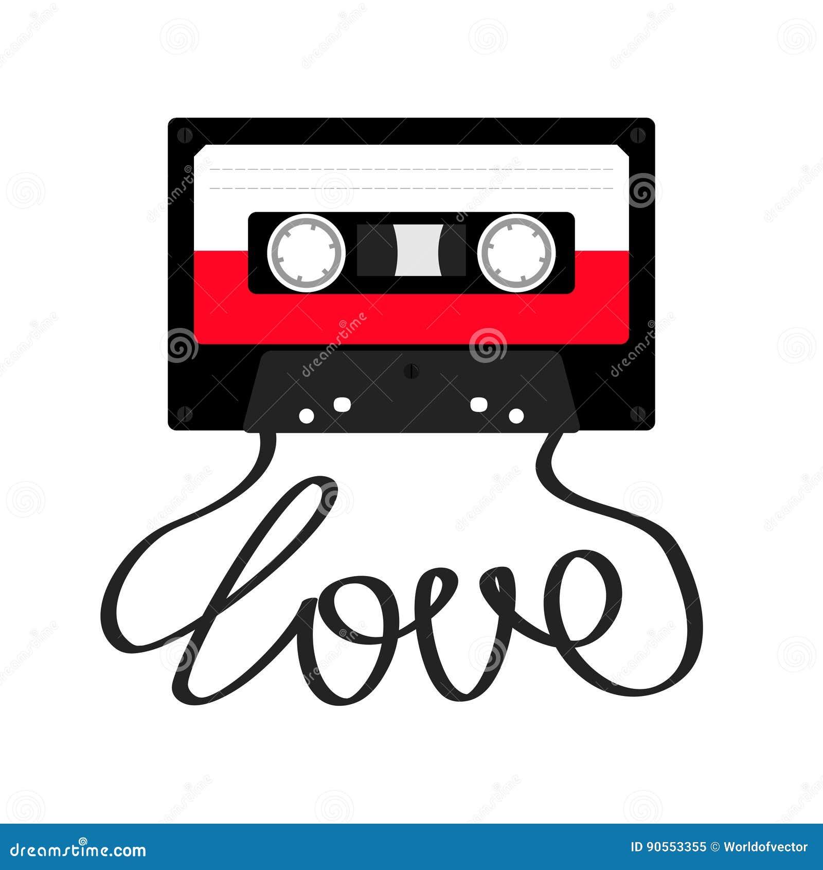 plastic audio tape cassette with tape word love retro. Black Bedroom Furniture Sets. Home Design Ideas